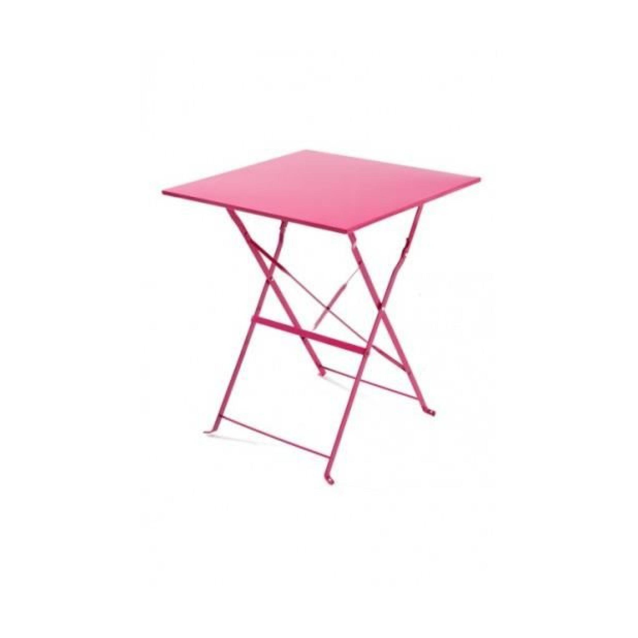 magnifique table bistrot carr e rose framboise achat vente table salle a manger pas cher. Black Bedroom Furniture Sets. Home Design Ideas