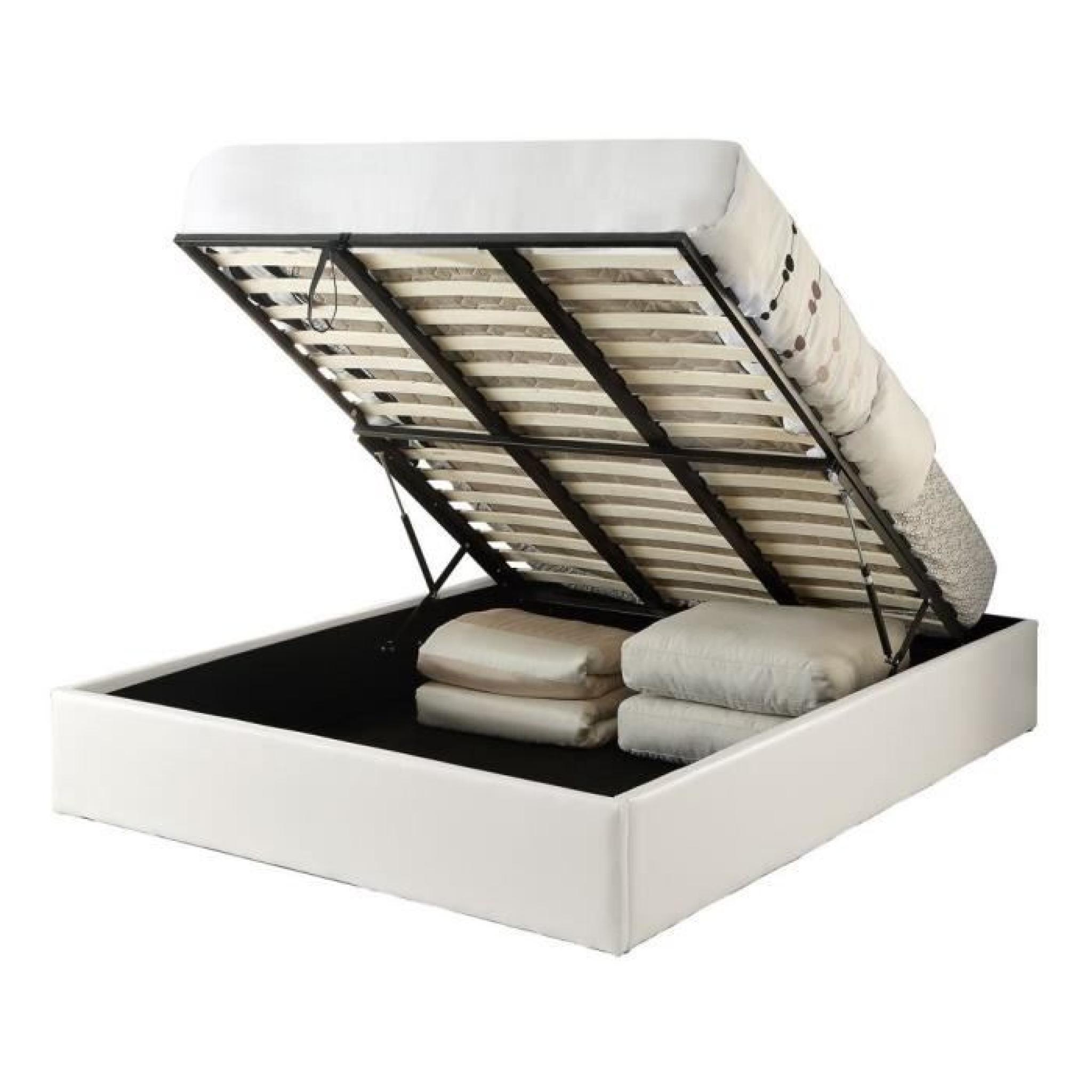 majesty lit coffre adulte 140x190 + sommier blanc - achat/vente lit