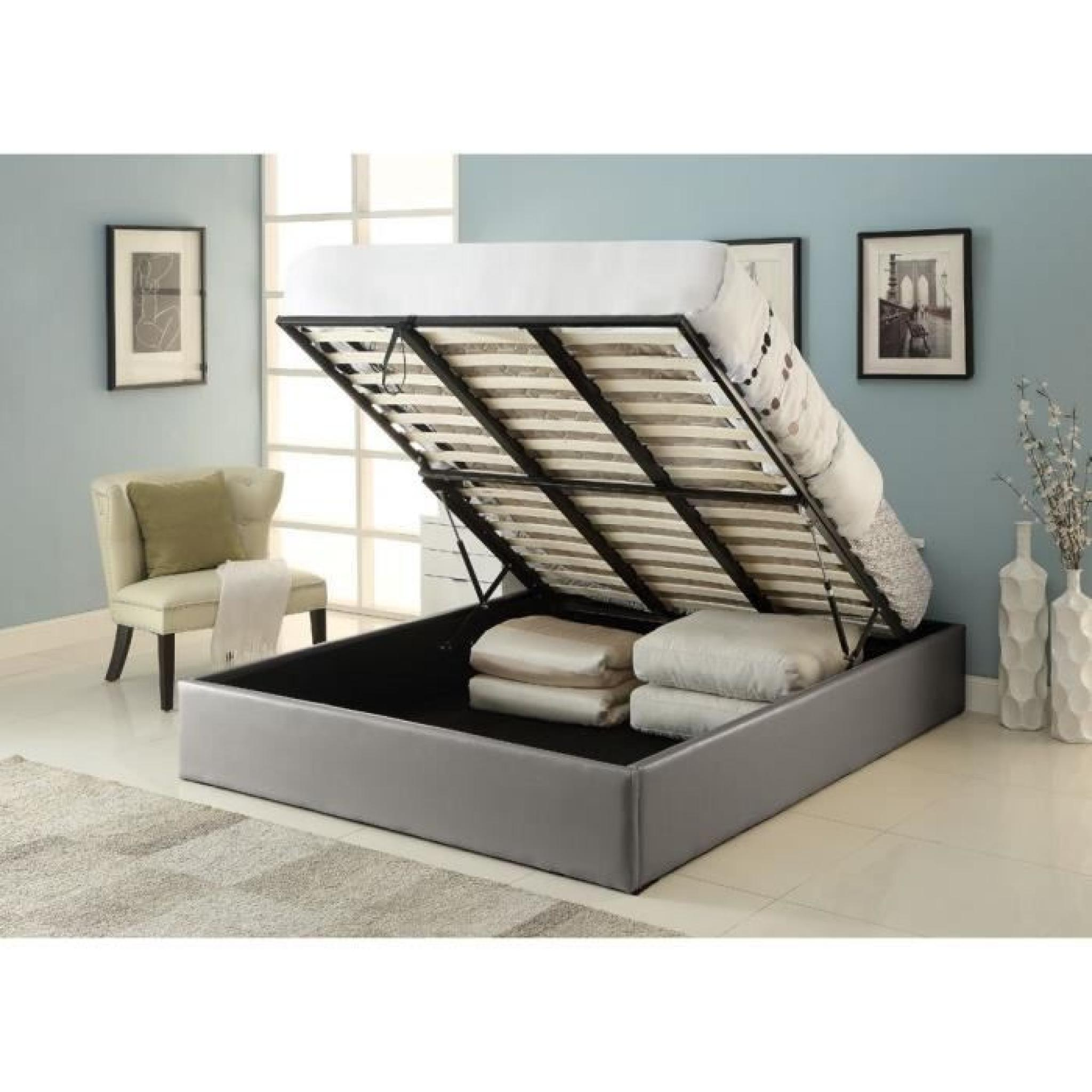 majesty lit coffre adulte 140x190 sommier gris achat. Black Bedroom Furniture Sets. Home Design Ideas