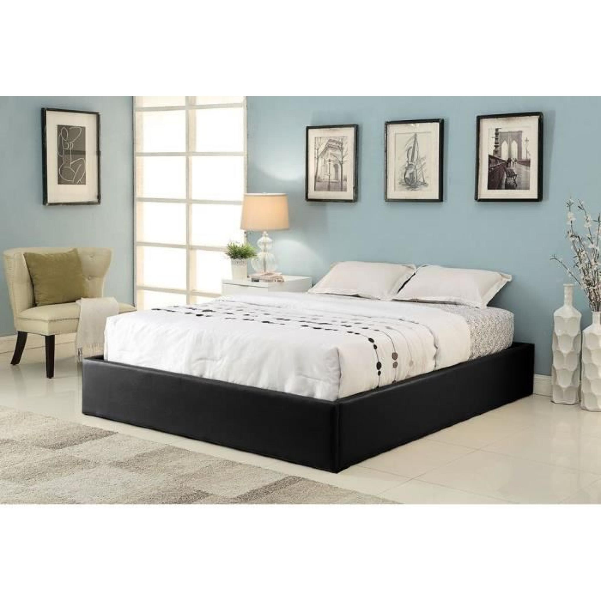 majesty lit coffre adulte 160x200 sommier noir achat. Black Bedroom Furniture Sets. Home Design Ideas