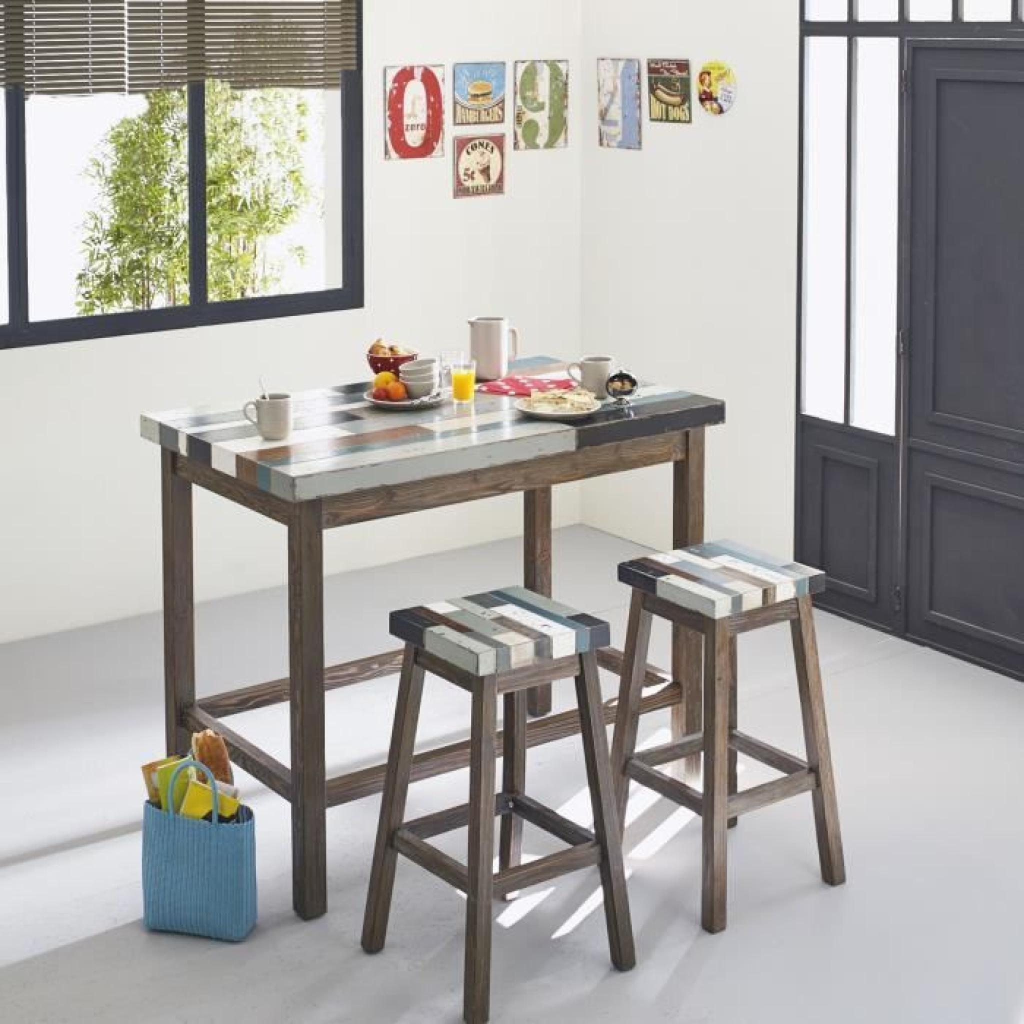 Manaka table haute bar rectangulaire achat vente table for Table salle a manger haute design