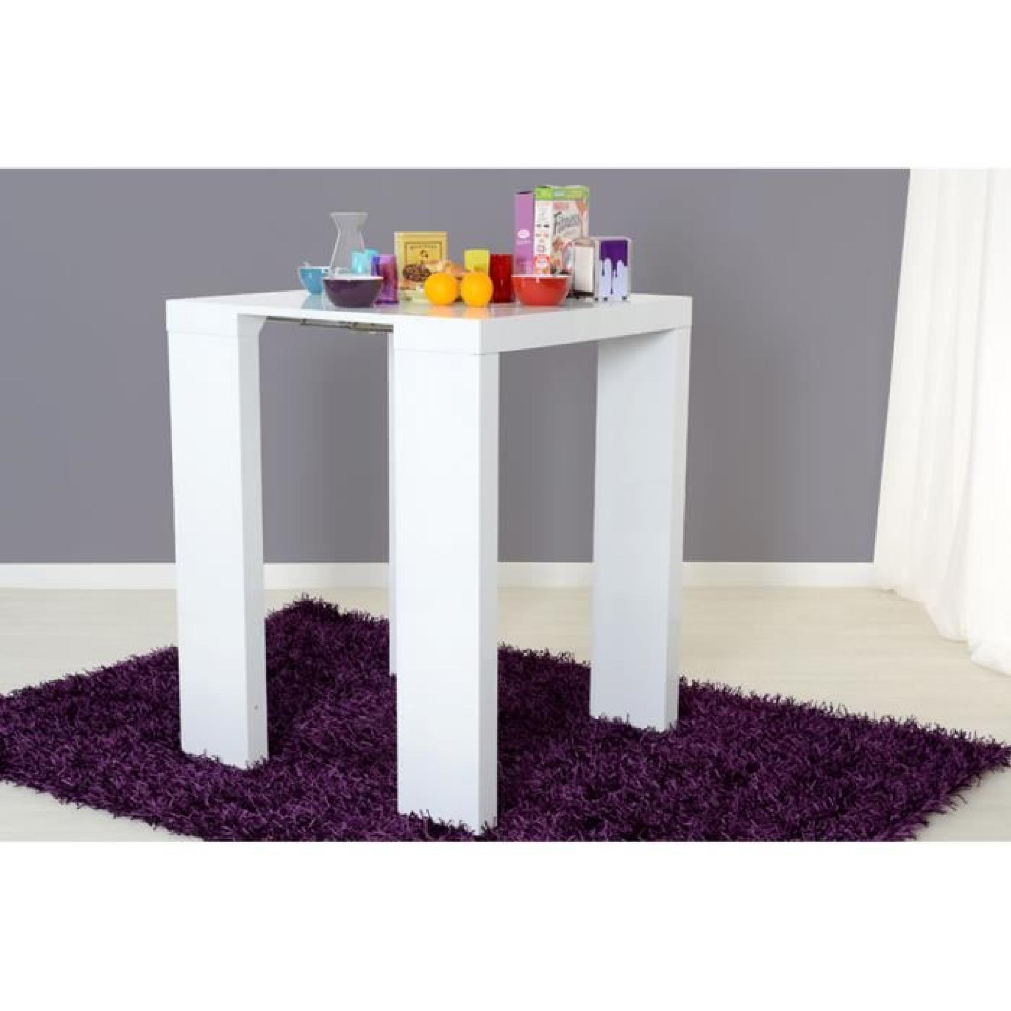 Mange debout blanc extensible 2 rallonges mdf laqu jimi for Table salle a manger jimi