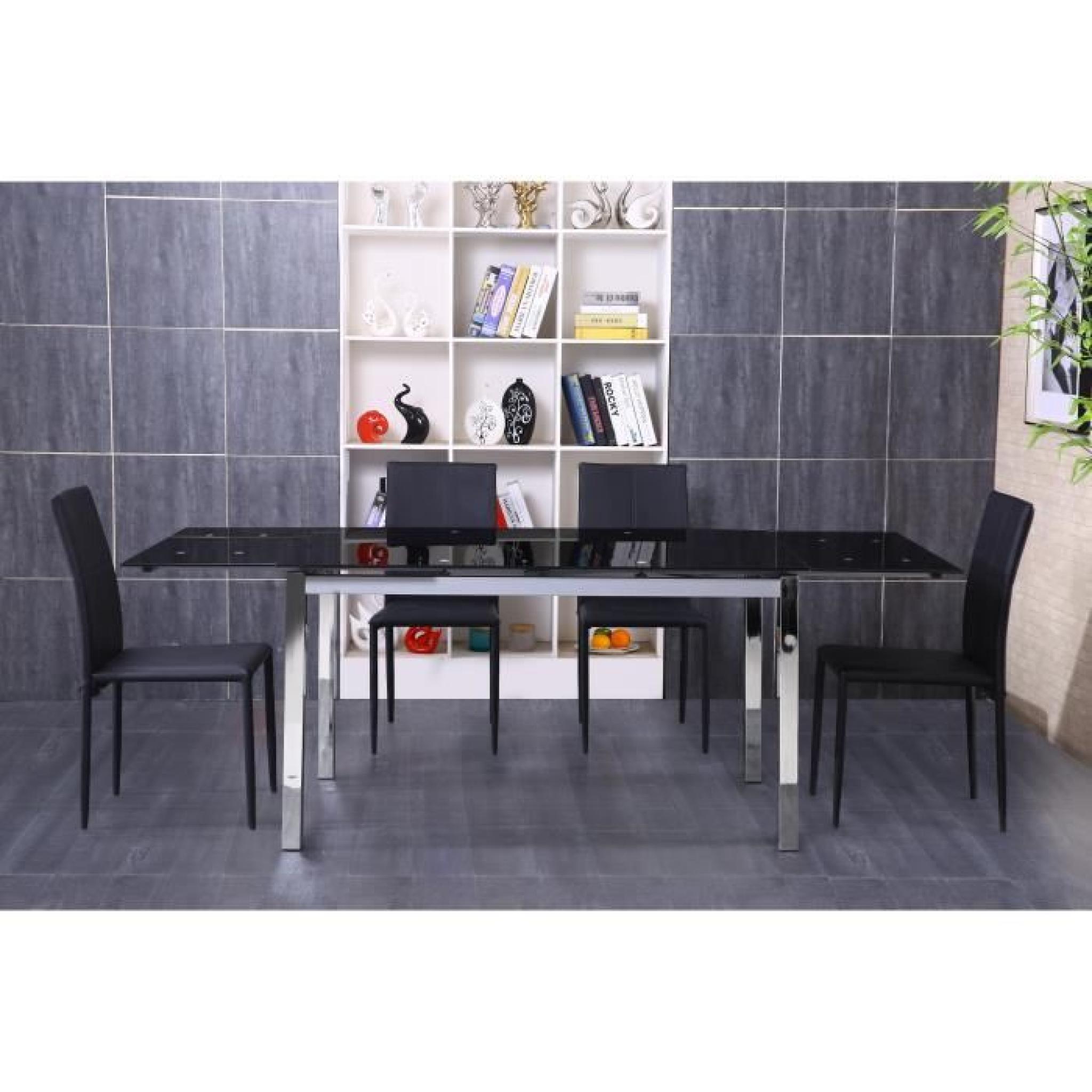 MAX Table extensible 140/220 chrome + verre noir - Achat/Vente table ...