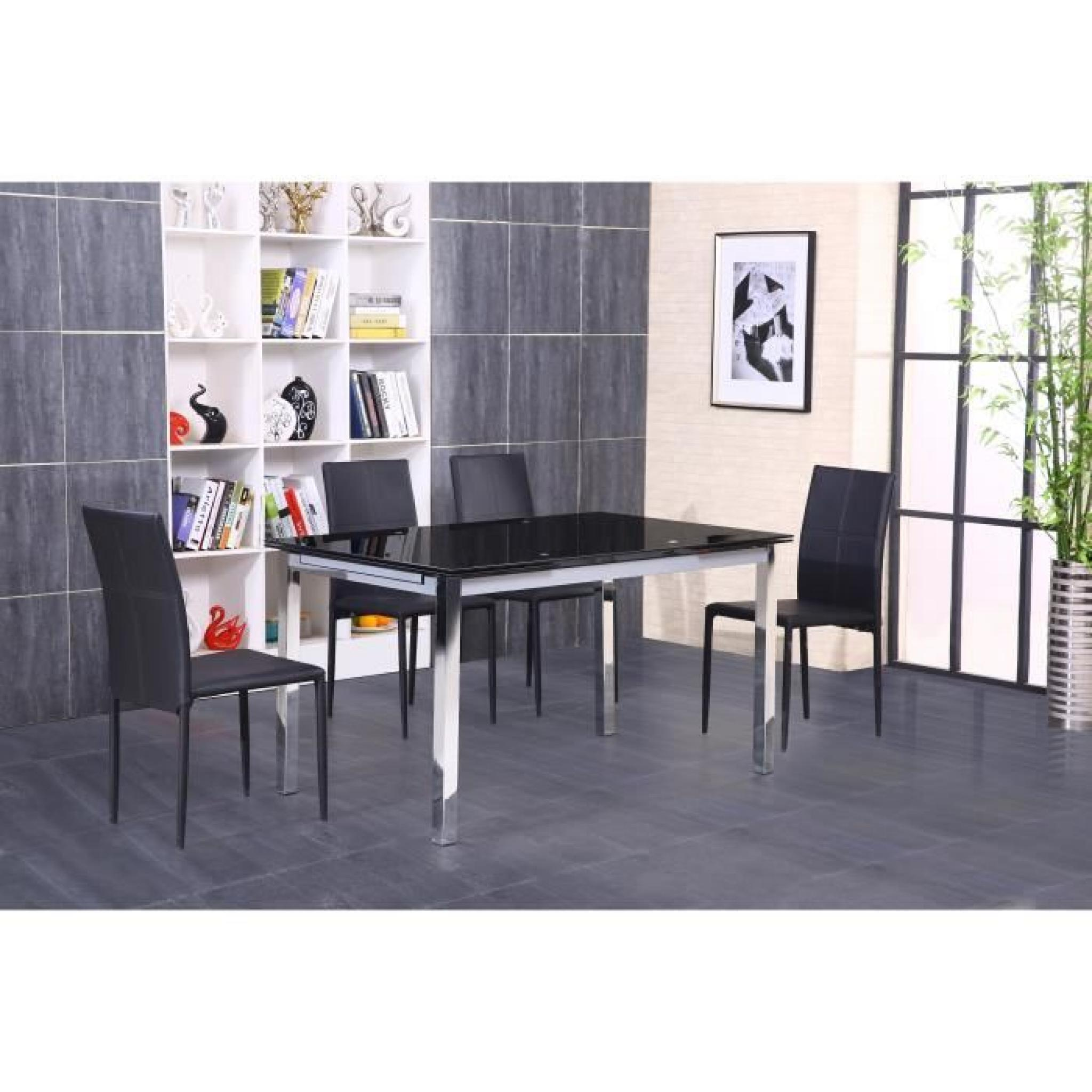 Extensible Noir Max ChromeVerre Table 140220 oeWrdBxC