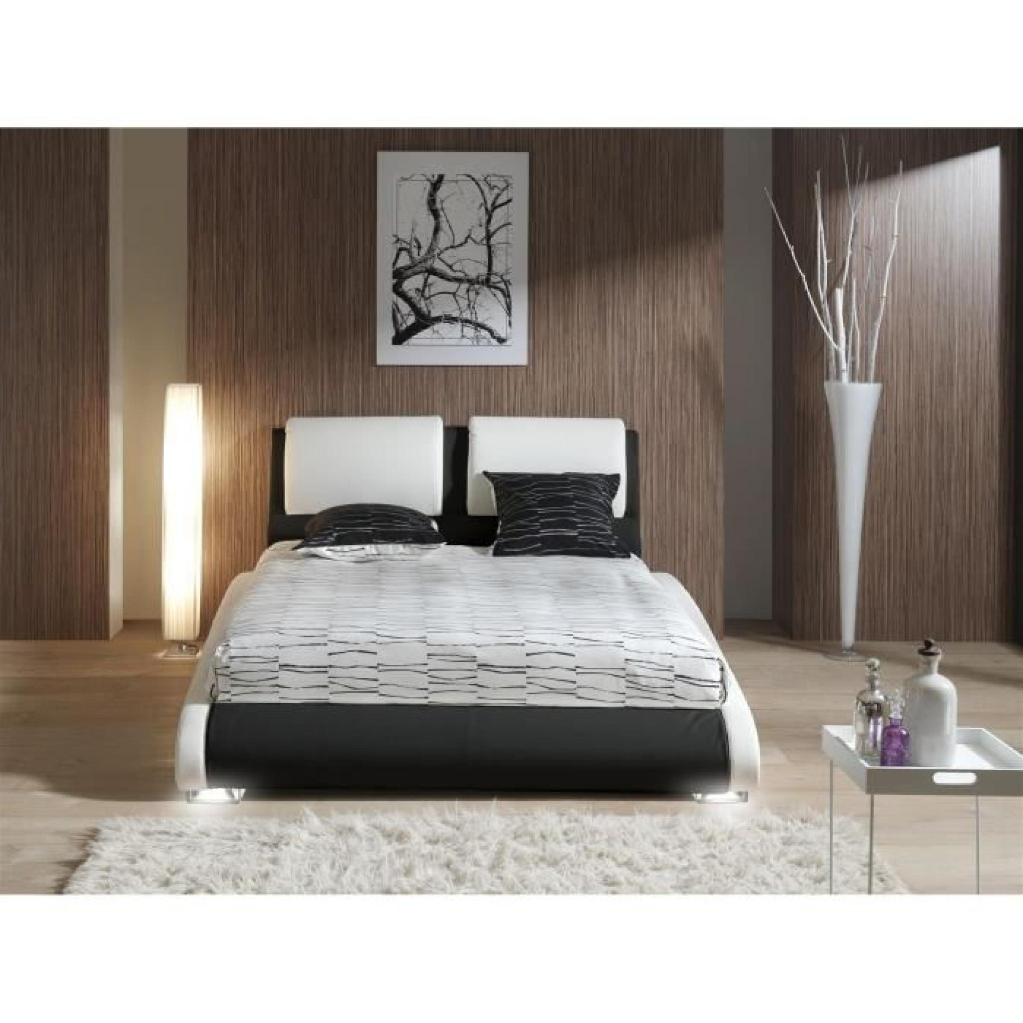 maxi lit adulte sommier 140x190 blanc noir pieds led. Black Bedroom Furniture Sets. Home Design Ideas