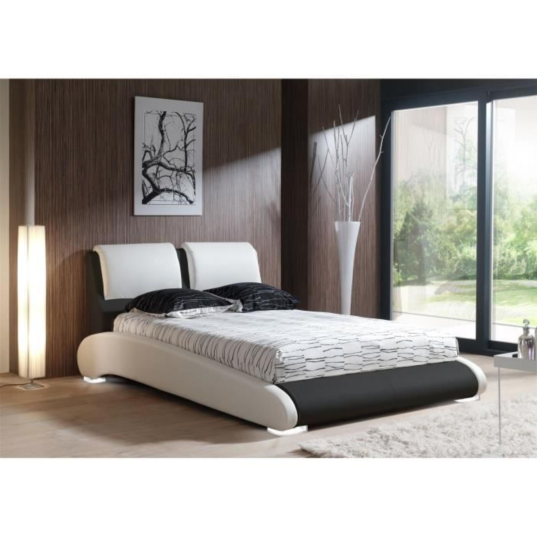 maxi lit adulte sommier 160x200 blanc noir pieds led. Black Bedroom Furniture Sets. Home Design Ideas