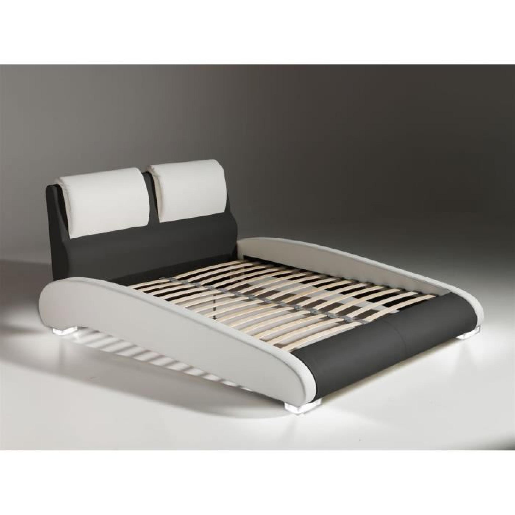 Maxi lit adulte sommier 160x200 blanc noir pieds led for Chambre complete adulte led