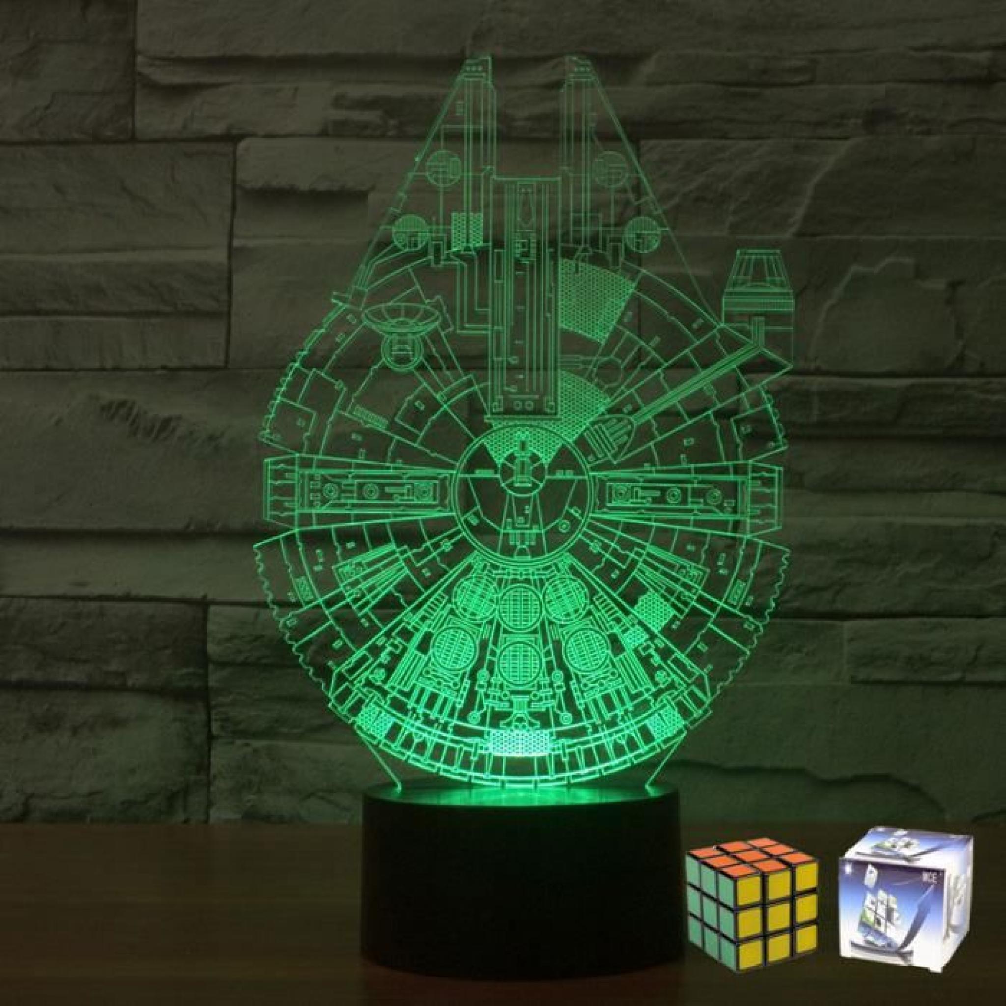 Wars Led Millennium Rubik's Mce Cube Lampe un Gratuit Acrylique Falco Coloré 3d Sept Star Gradient w80OXknP