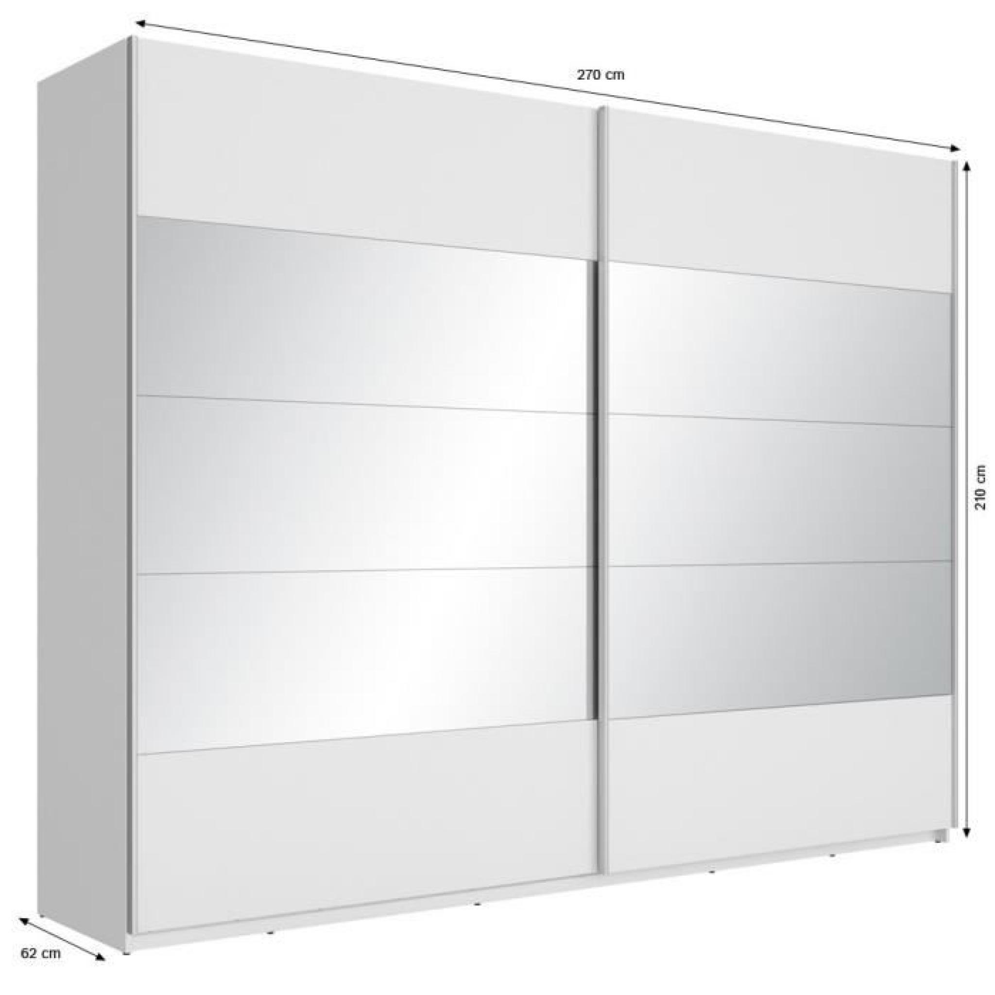 Mega armoire 270 cm blanc et miroir achat vente armoire for Armoire pas cher avec miroir