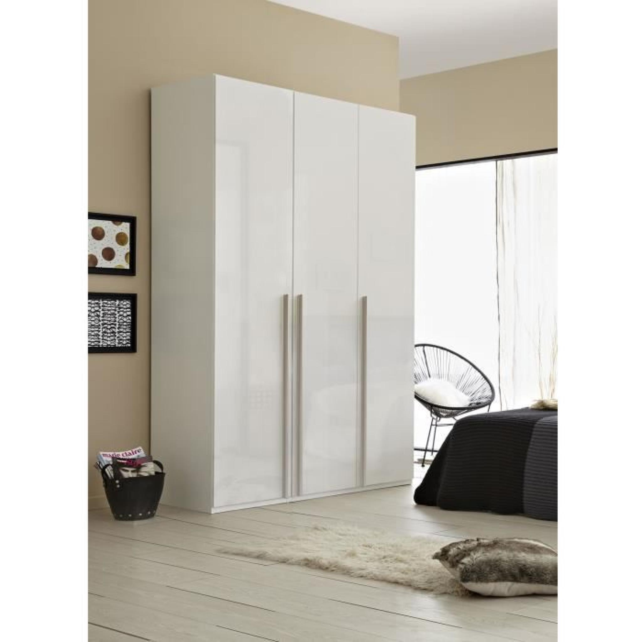 m o porte battante l50cm blanc brillant avec poign e. Black Bedroom Furniture Sets. Home Design Ideas