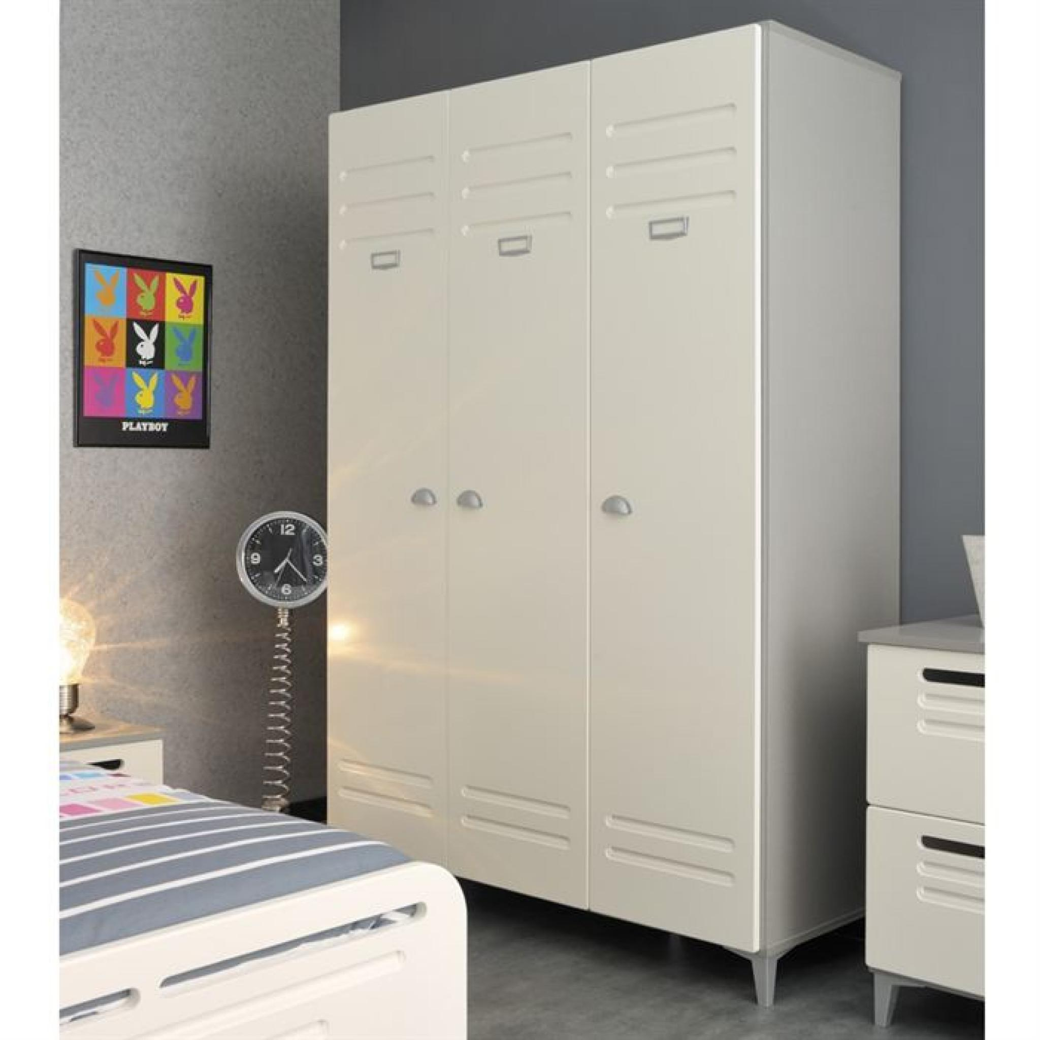 metal lit 3 tiroirs 1 chevet et 1 armoire enfant achat. Black Bedroom Furniture Sets. Home Design Ideas