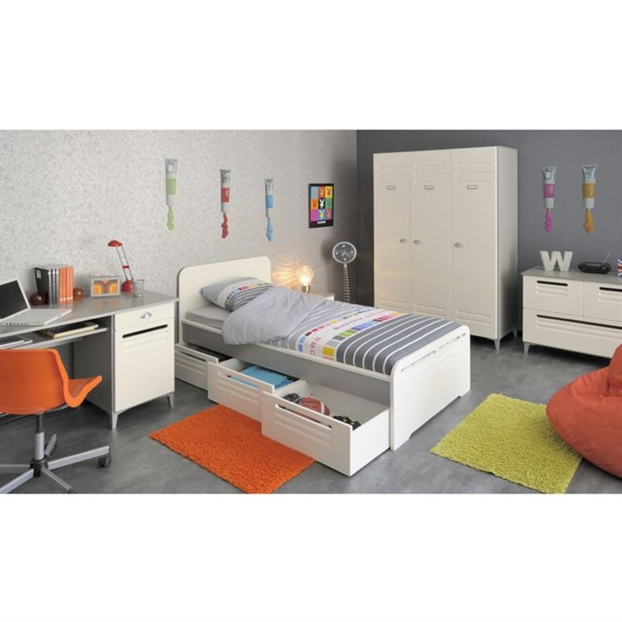 metal lit 3 tiroirs 1 chevet et 1 armoire enfant achat. Black Bedroom Furniture Sets. Home Design Ideas
