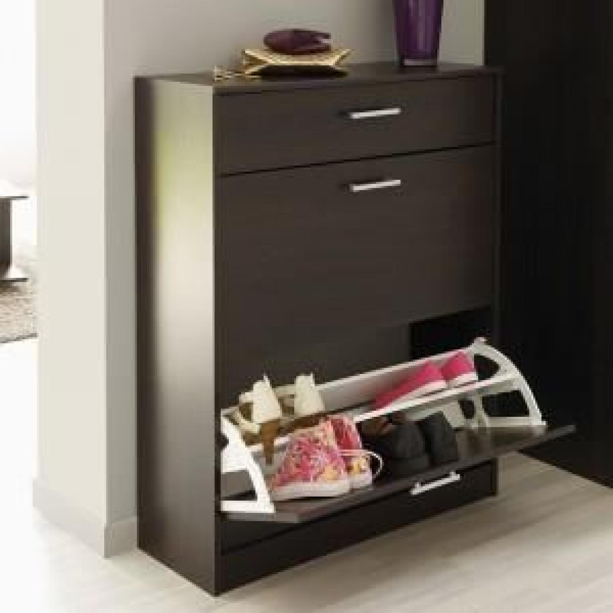 meuble a chaussures wenge 3 portes caliari. Black Bedroom Furniture Sets. Home Design Ideas