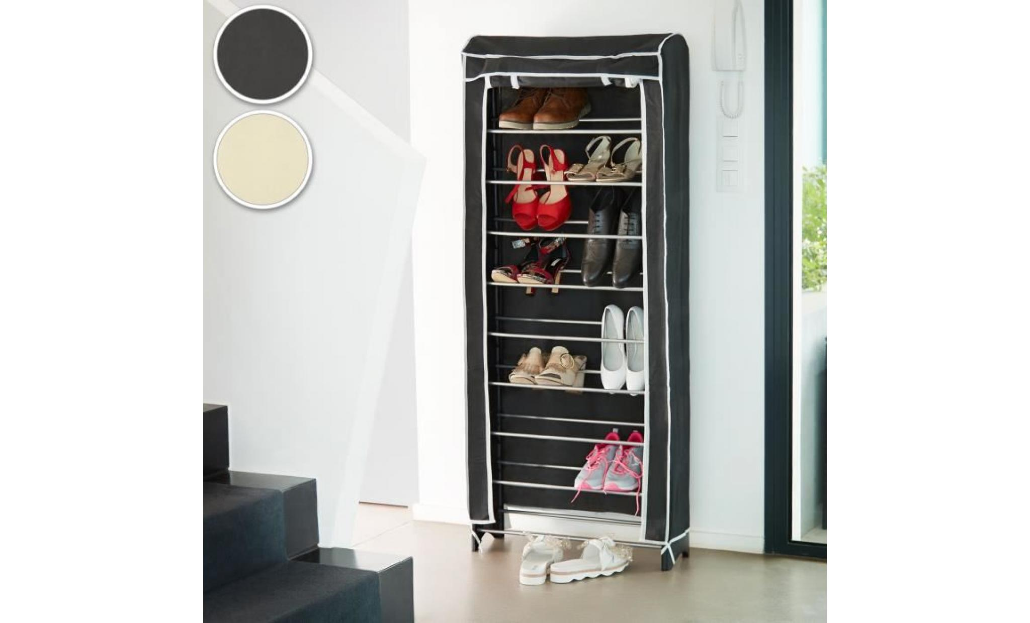 meuble chaussures armoire chaussures tag re chaussures 10 tages avec housse noir. Black Bedroom Furniture Sets. Home Design Ideas