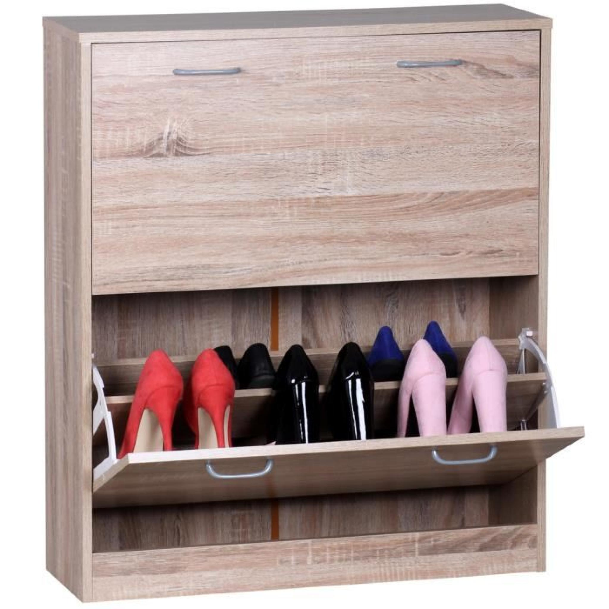 meuble chaussures en bois agglom r couleur ch ne 87 x. Black Bedroom Furniture Sets. Home Design Ideas