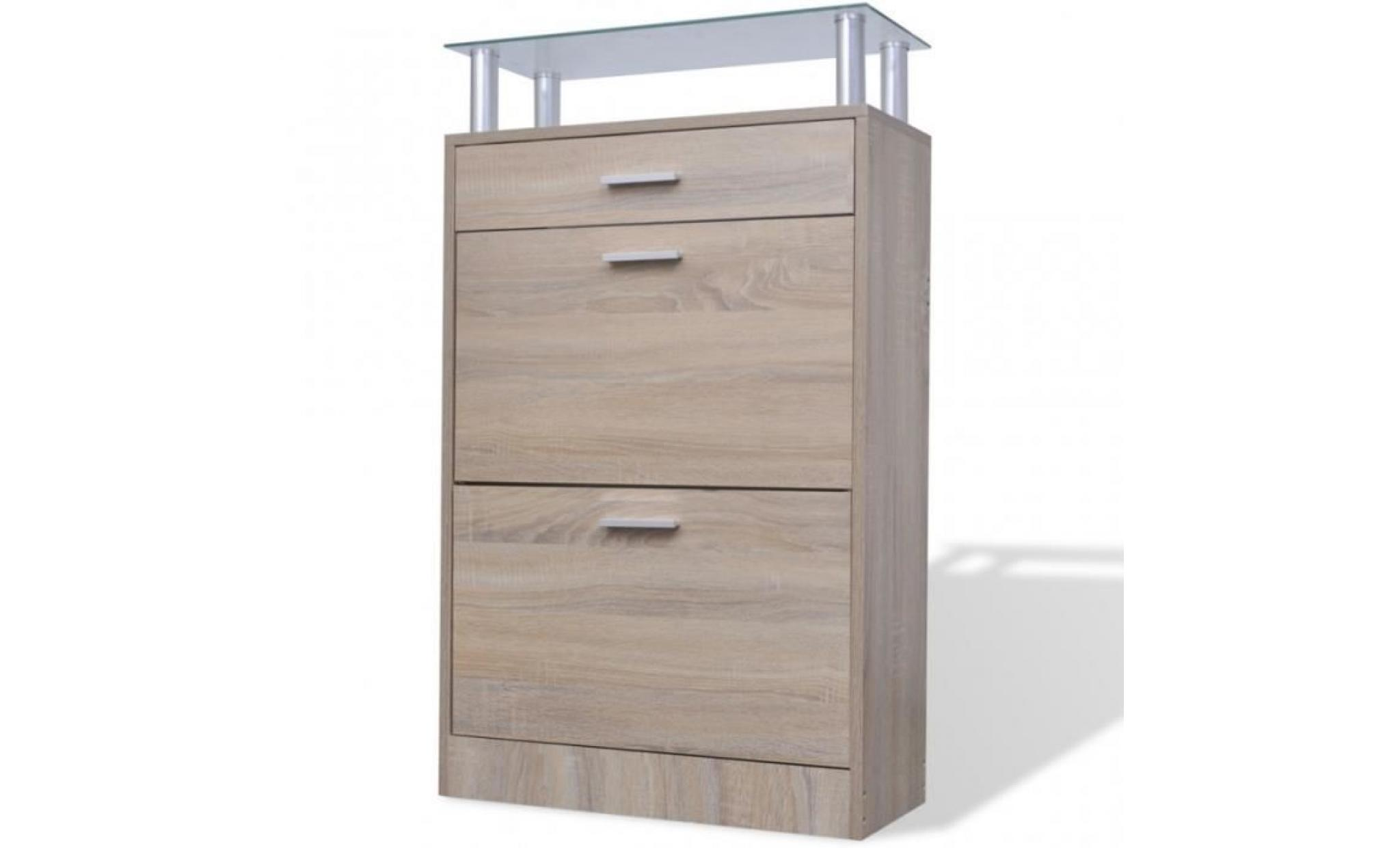 meuble chaussures en bois avec tiroir et plateau aspect ch ne achat vente meuble chaussure. Black Bedroom Furniture Sets. Home Design Ideas