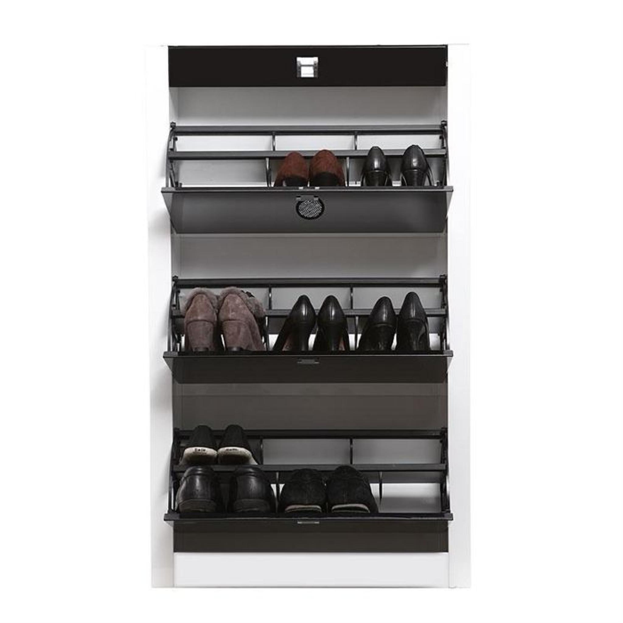 meuble chaussures design laqu noir deva achat vente. Black Bedroom Furniture Sets. Home Design Ideas