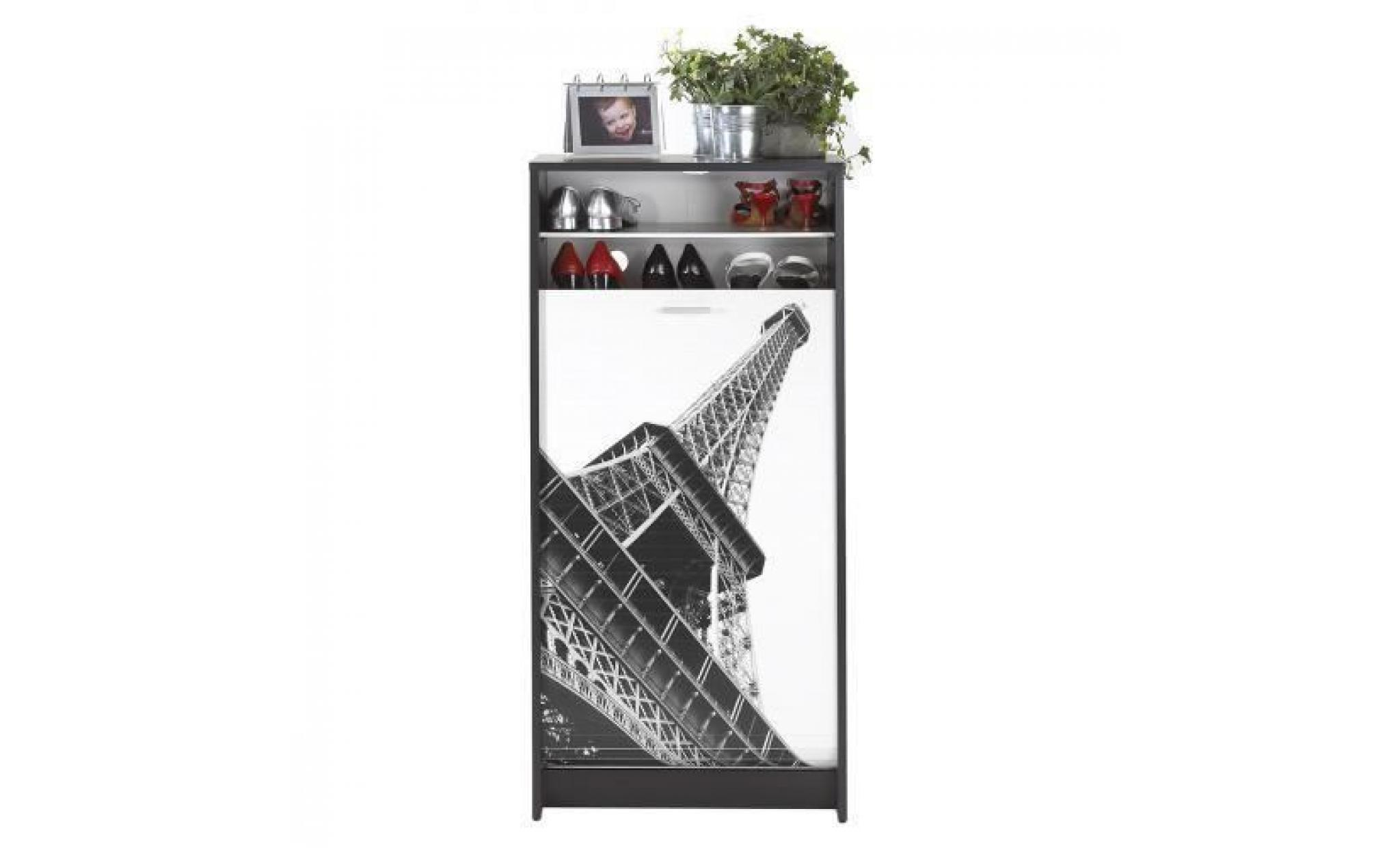 meuble a chaussures shoot paris noir achat vente meuble chaussure pas cher couleur et. Black Bedroom Furniture Sets. Home Design Ideas