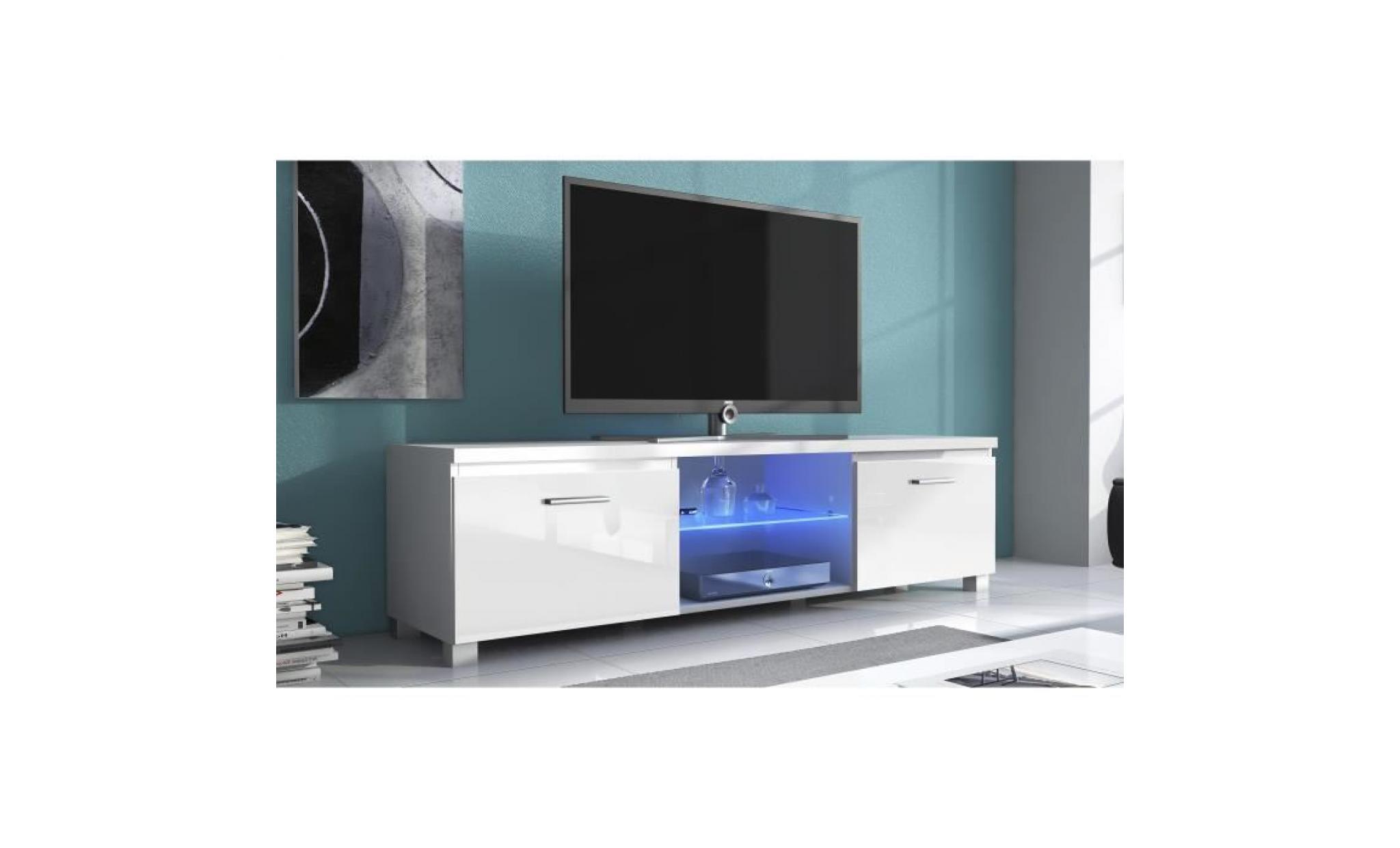 meuble bas tv led, salon séjour, blanc mate et blanc laqué, dimensions: 150  x 40 x 42 cm de profondeur.
