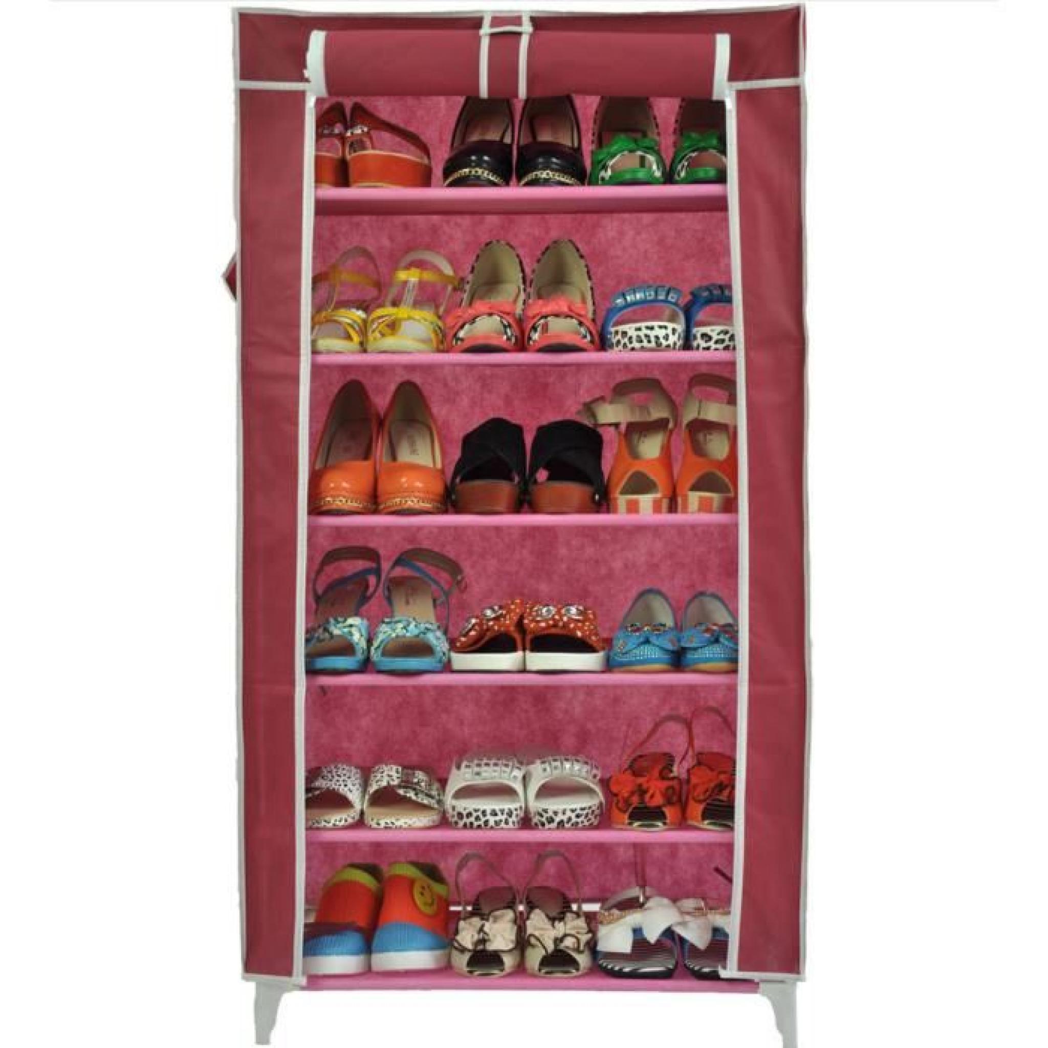 Meuble Penderie Garde Robe Etagere pour chaussures Vetements 58 x 28 x 107 cm Rose