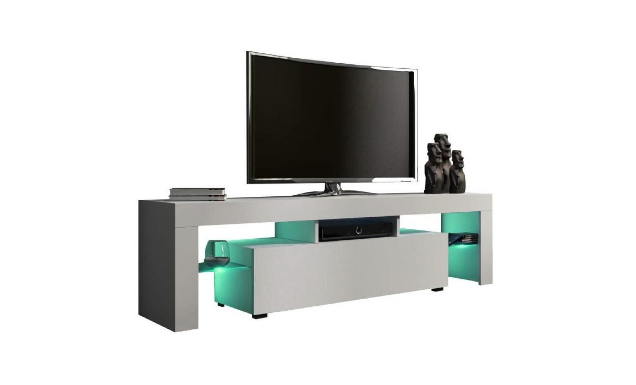 led meuble tv 160 blanc cm avec rgb mat UqMpzGSV