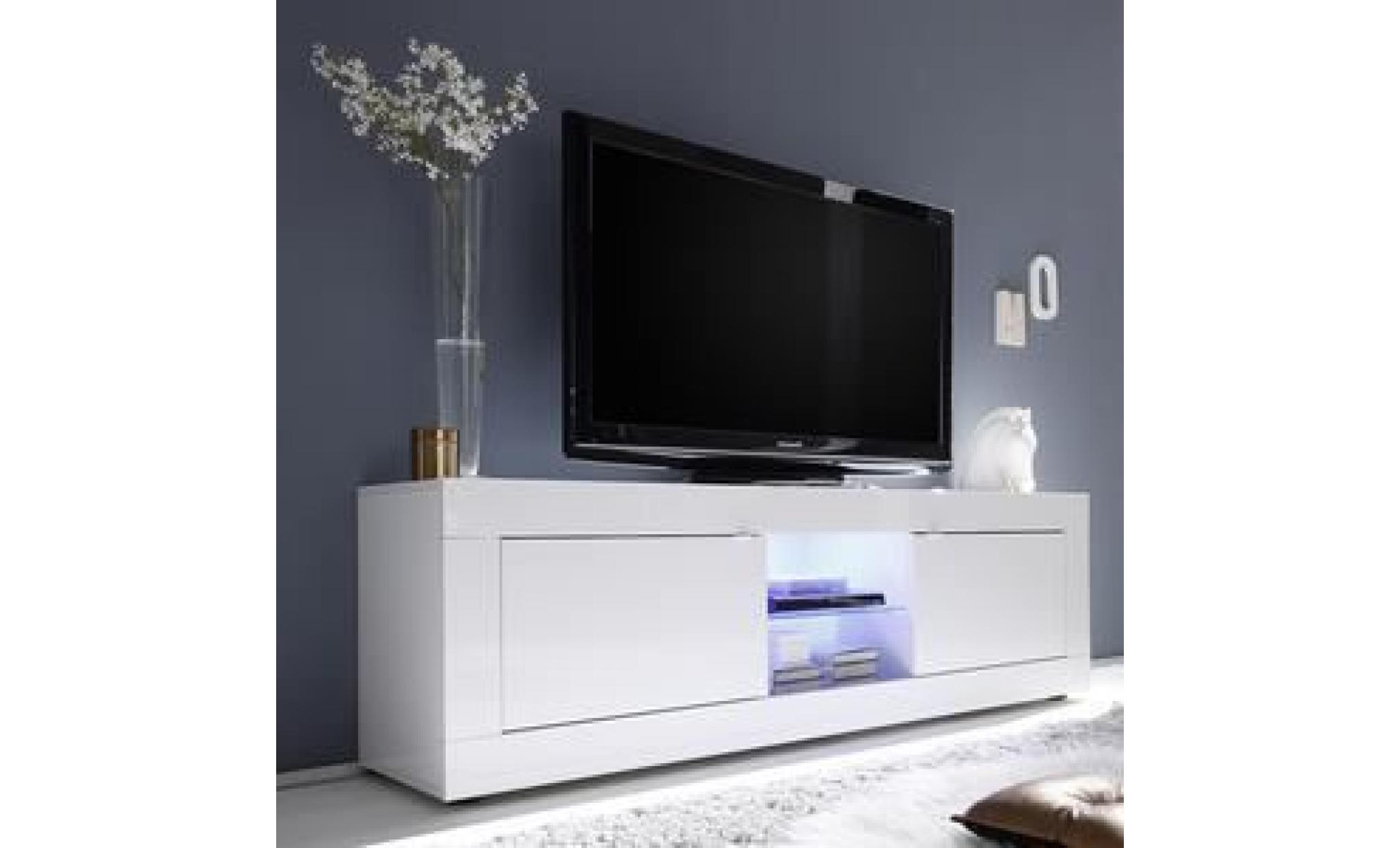 Meuble Tv 180 Cm Blanc Laque Design Focia 2 Sans Eclairage Blanc