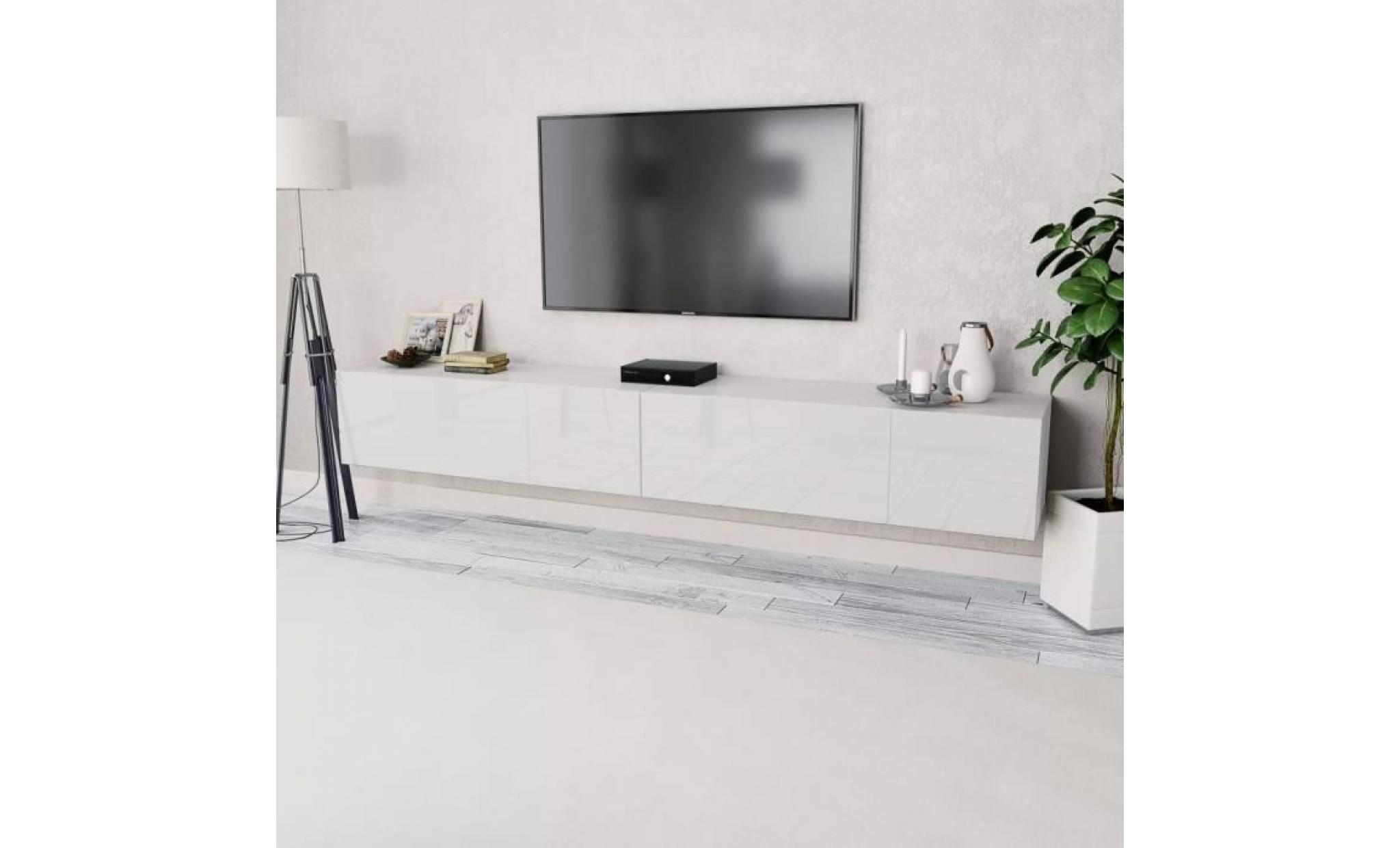 Meuble Tv 2 Pcs Agglomere 120 X 40 X 34 Cm Blanc Brillant Muble Tv Mural Contemporain Scandinave