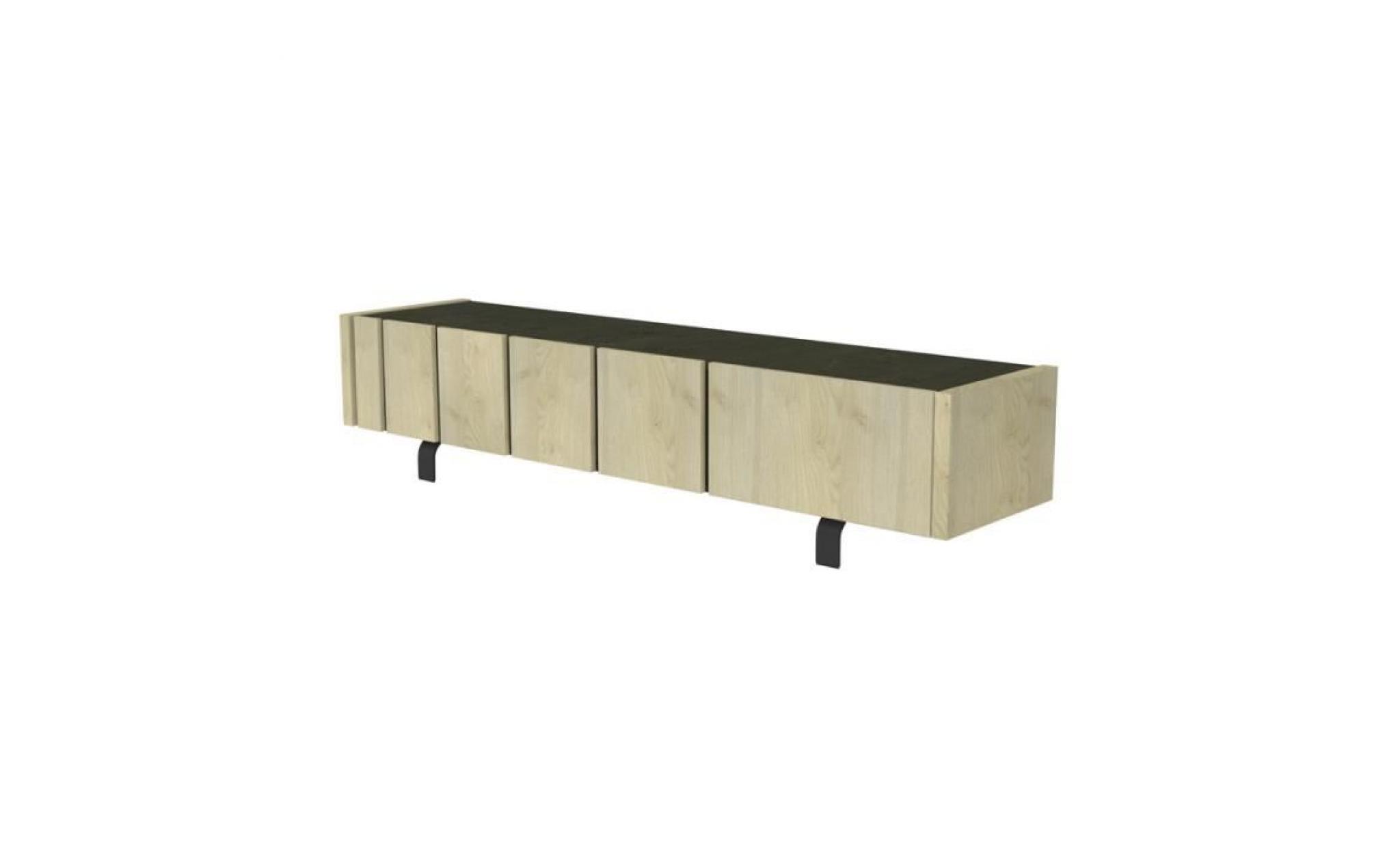 meuble tv 3 portes chêne clair/ardoise forest l 190 x l 45 x h 45