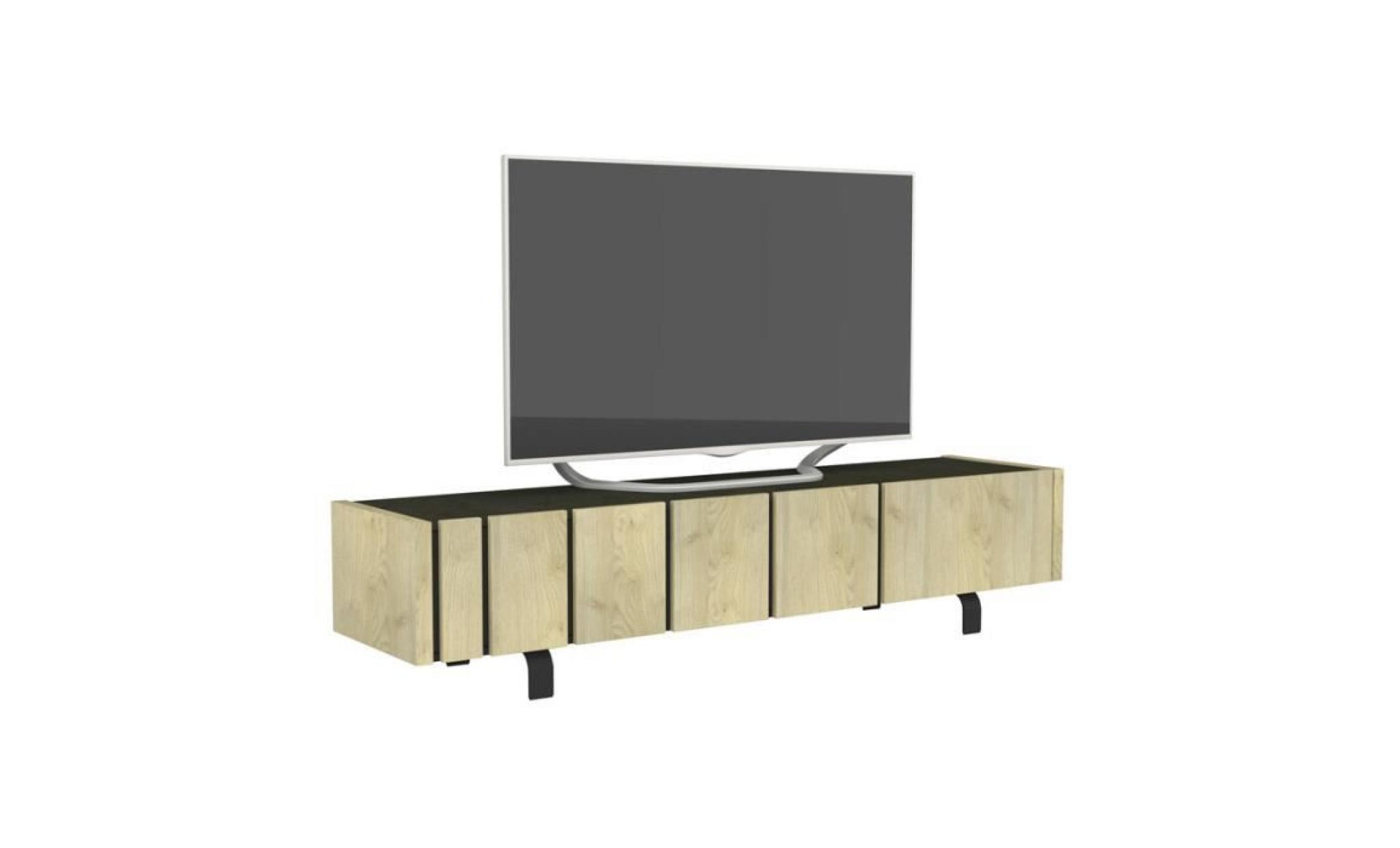 meuble tv 3 portes chêne clair/ardoise forest l 190 x l 45 ...