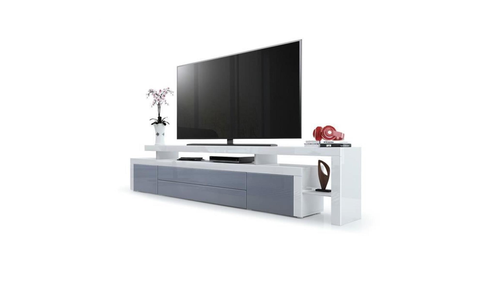 Meuble Tv Blanc Gris Laque 227 Cm Achat Vente Meuble Tv Pas Cher Couleur Et Design Fr