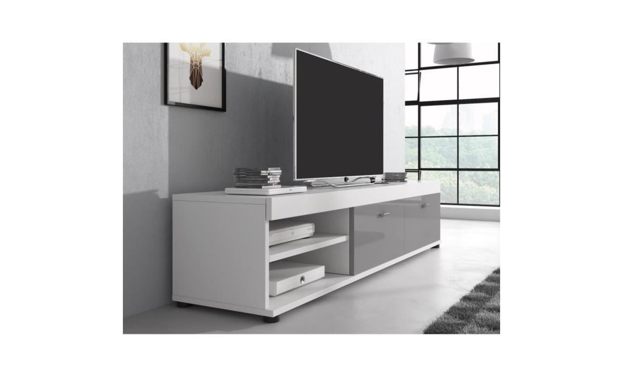 Meuble Tv Blanc Mat Et Gris Laque 140 Cm Achat Vente Meuble Tv Pas Cher Couleur Et Design Fr