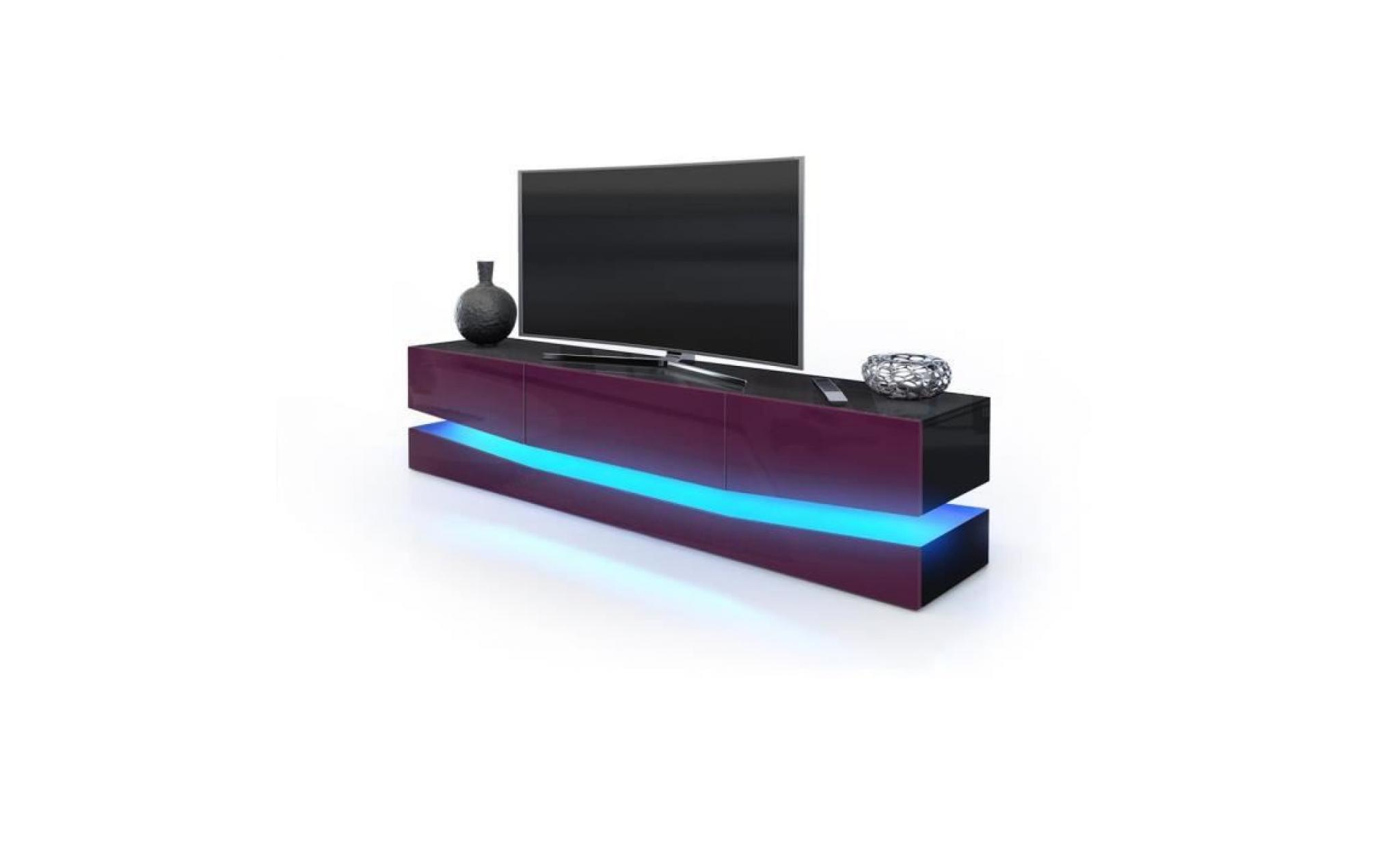 Meuble Tv Design Corps Noir Et Facades En Prune Haute Brillance Avec Led Achat Vente Meuble Tv Pas Cher Couleur Et Design Fr