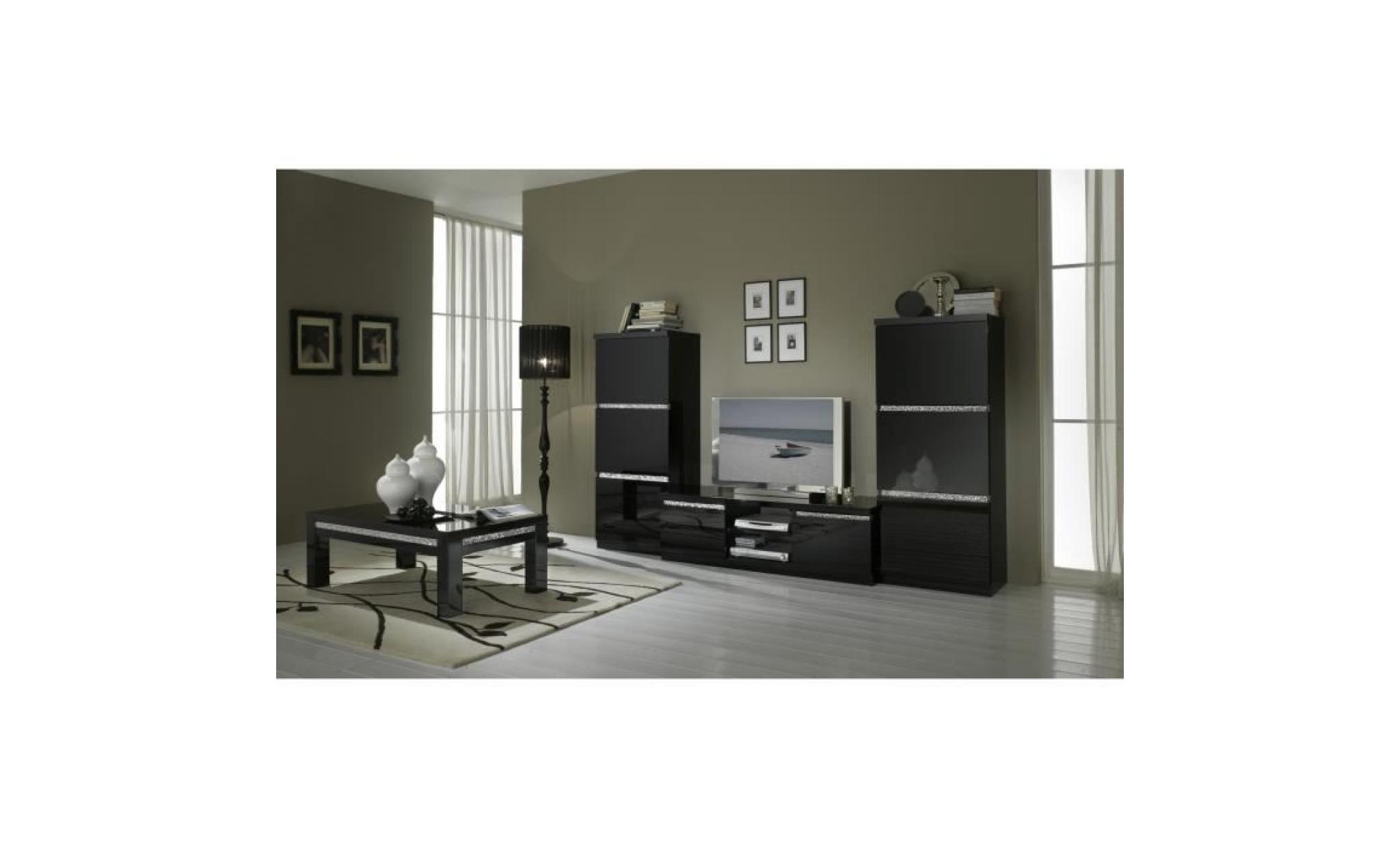 Meuble Tv Design Noir Laqu Garni De Cristaux Achat Vente Meuble  # Meuble Tv Design Noir Laque