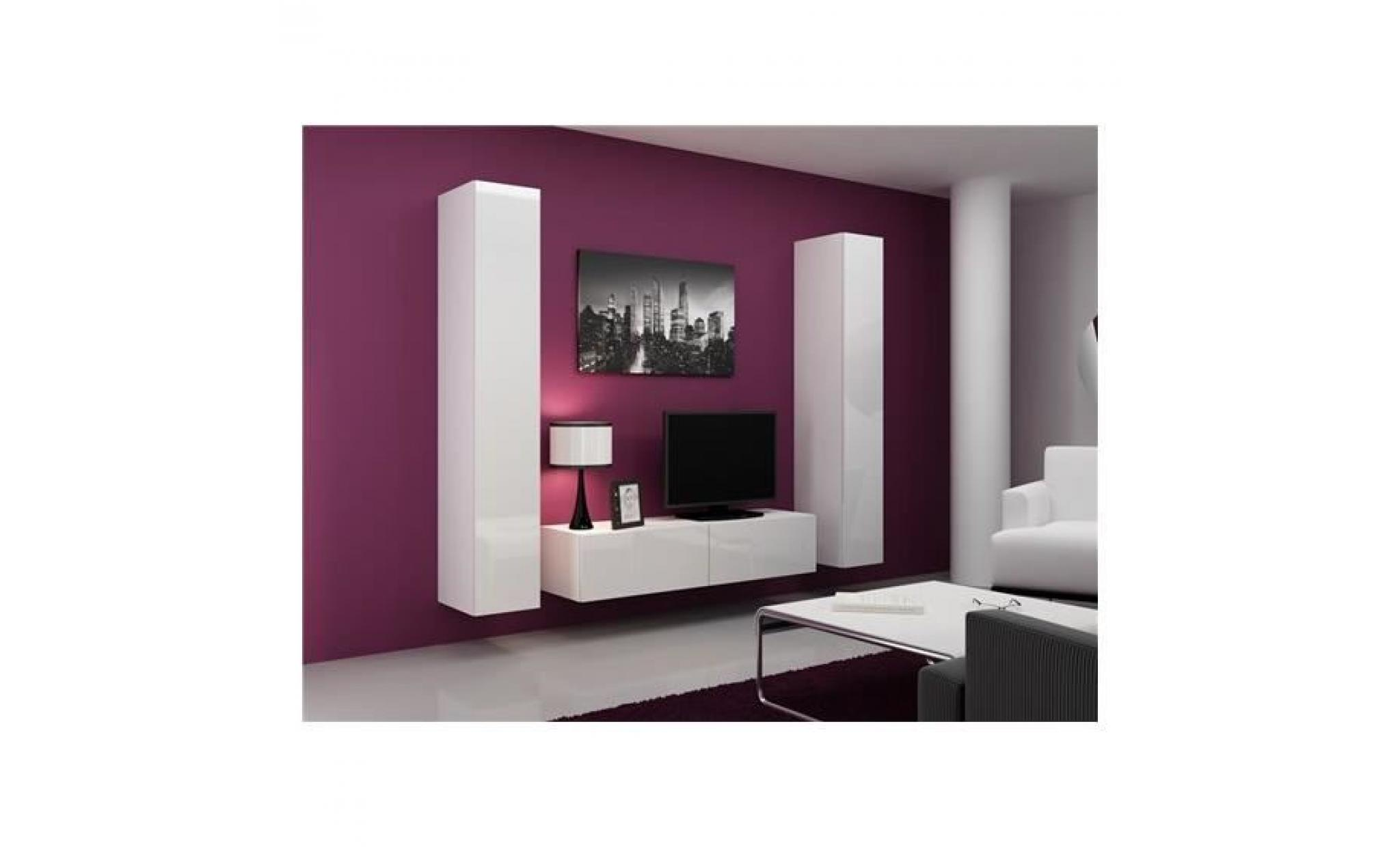 Meuble tv design suspendu vini blanc achat vente meuble for Meuble tv angle suspendu