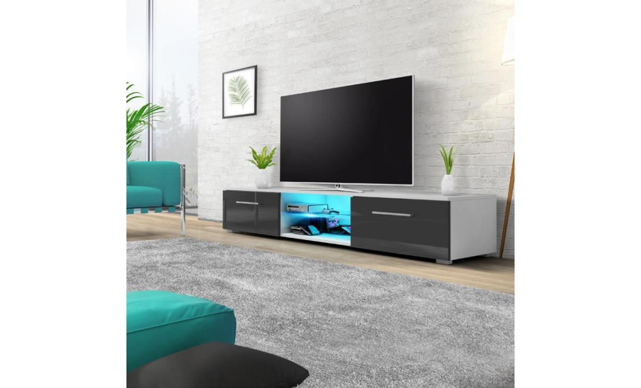 meuble tv / meuble salon edith 140 cm blanc mat / gris brillant avec led  bleue style minimaliste style moderne