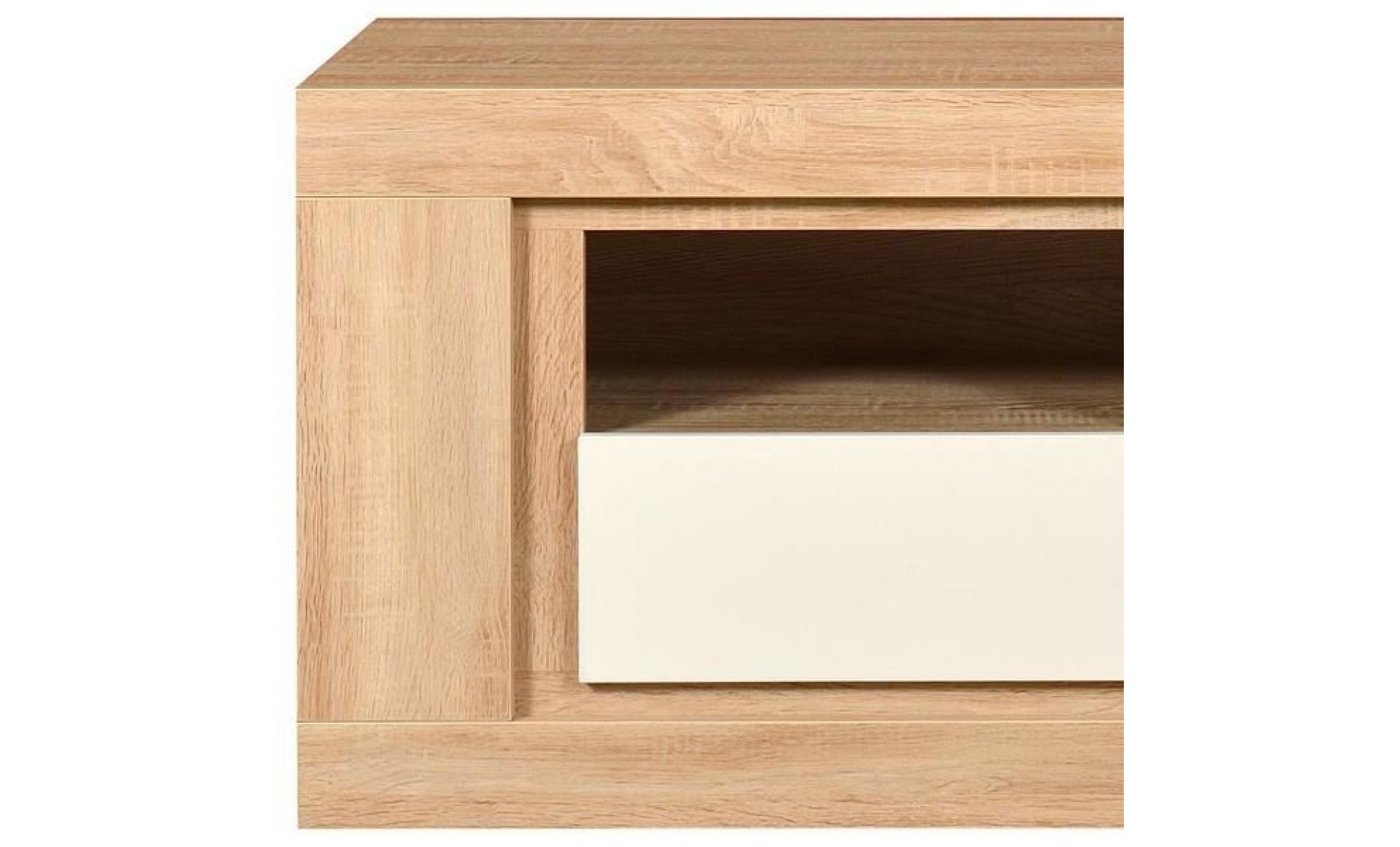 Meuble Tv Fa Ade Laque Blanche Luson L 180 X L 45 X H 55  # Meuble Tv Design Blanc Laque Noir Et Argente Pas Cher