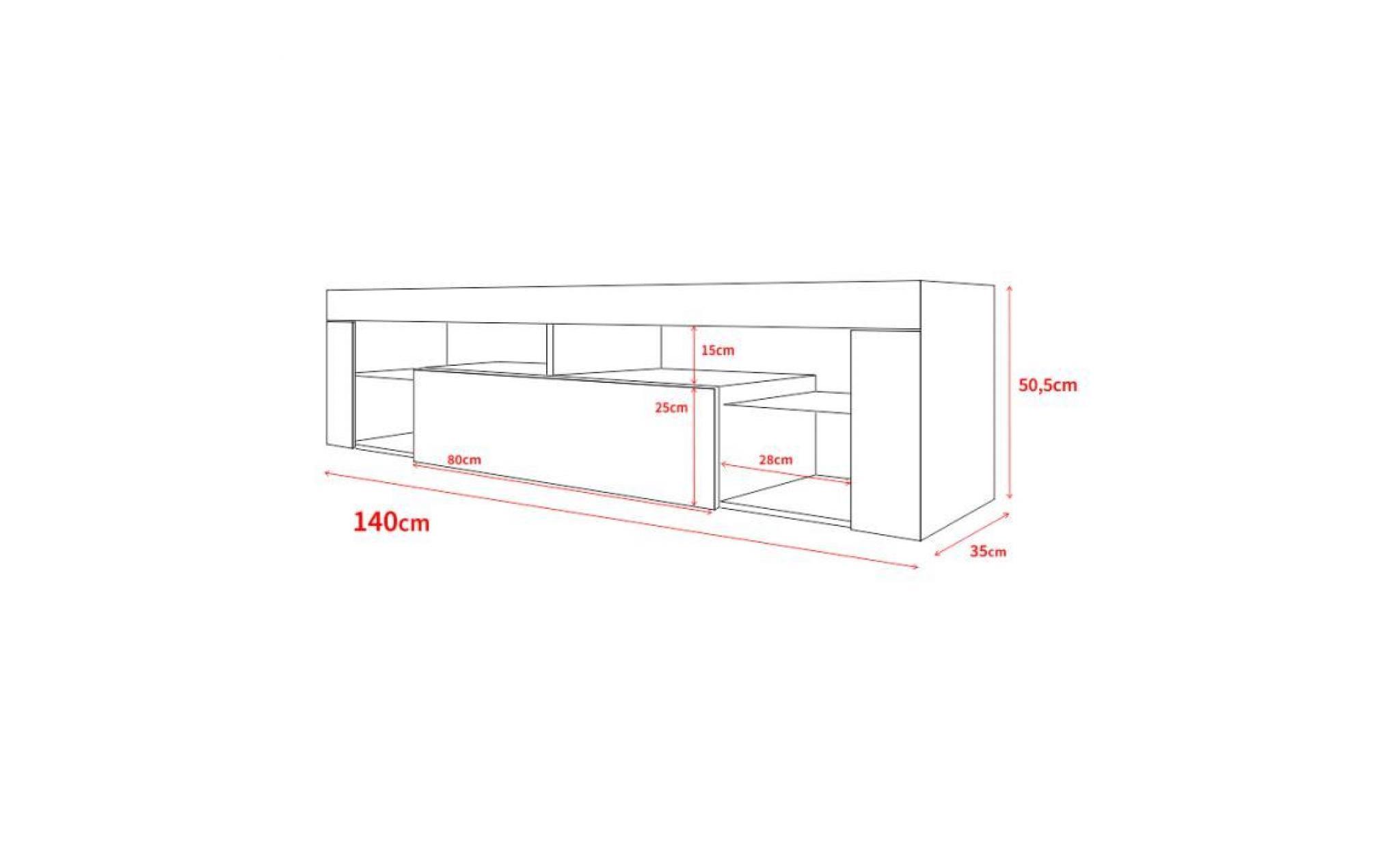 meuble tv / meuble de salon hugo 140 cm blanc mat / noir brillant sans led  style moderne tablette en verre
