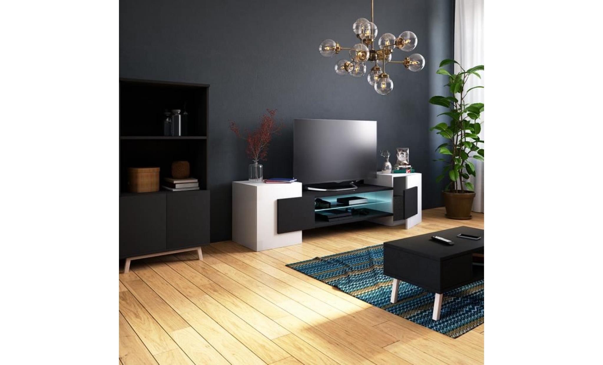 meuble tv / meuble de salon charles 160 cm blanc mat / béton sans led style  contemporain design moderne