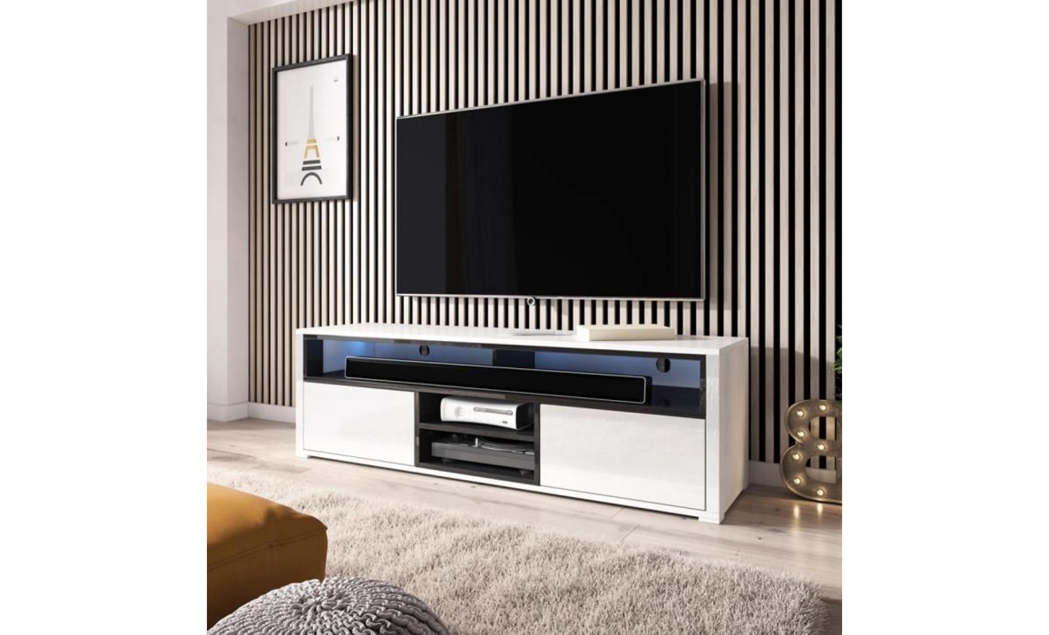 Meuble Tv Meuble De Salon Mario 137 Cm Blanc Mat Noir Brillant Avec Led 4 Niches Ouvertes 2 Compartiments Fermes