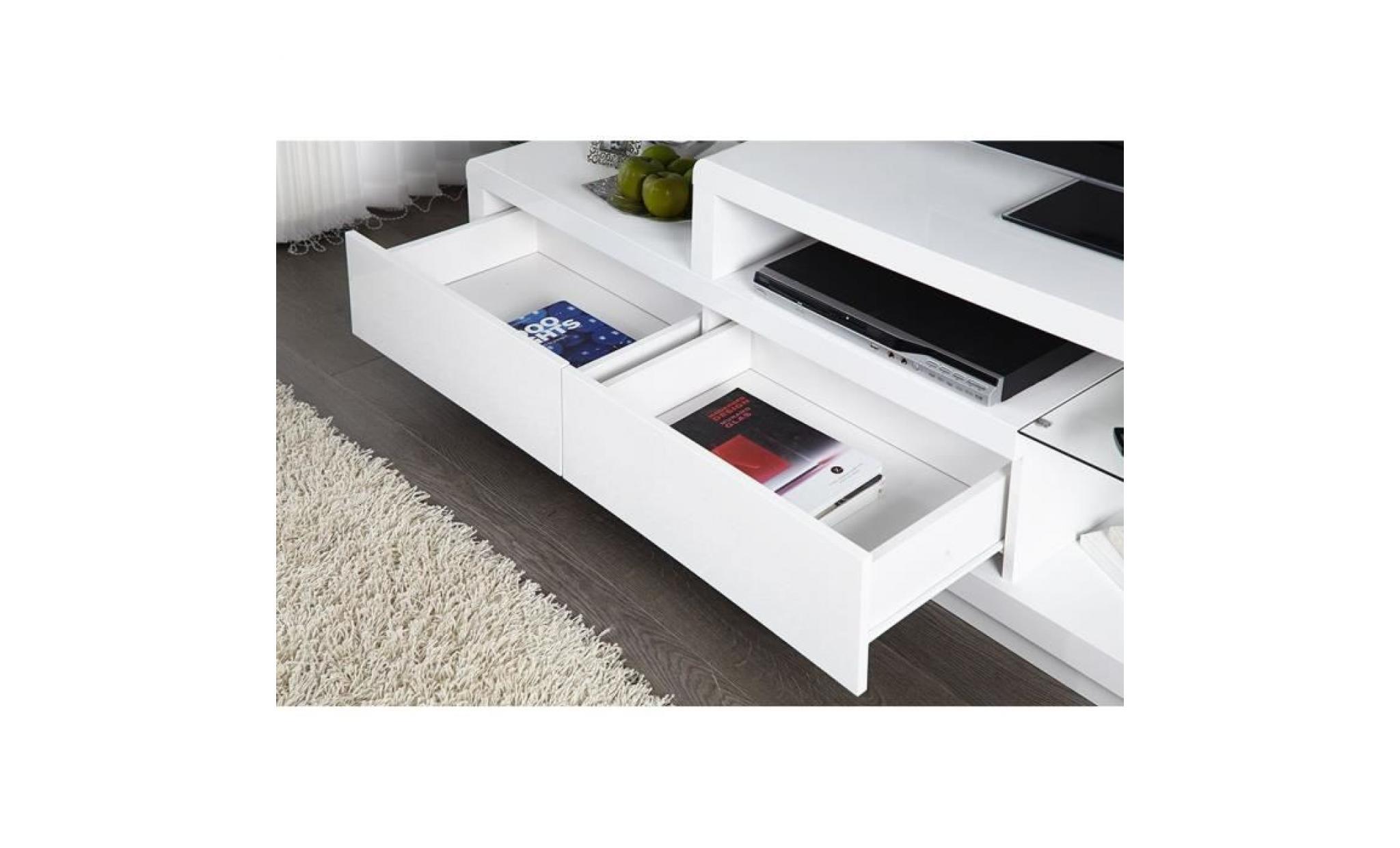 Meuble Tv Meuble De Salon Nels Blanc Laqu Led Achat Vente  # Meuble Tv Led Blanc Laque