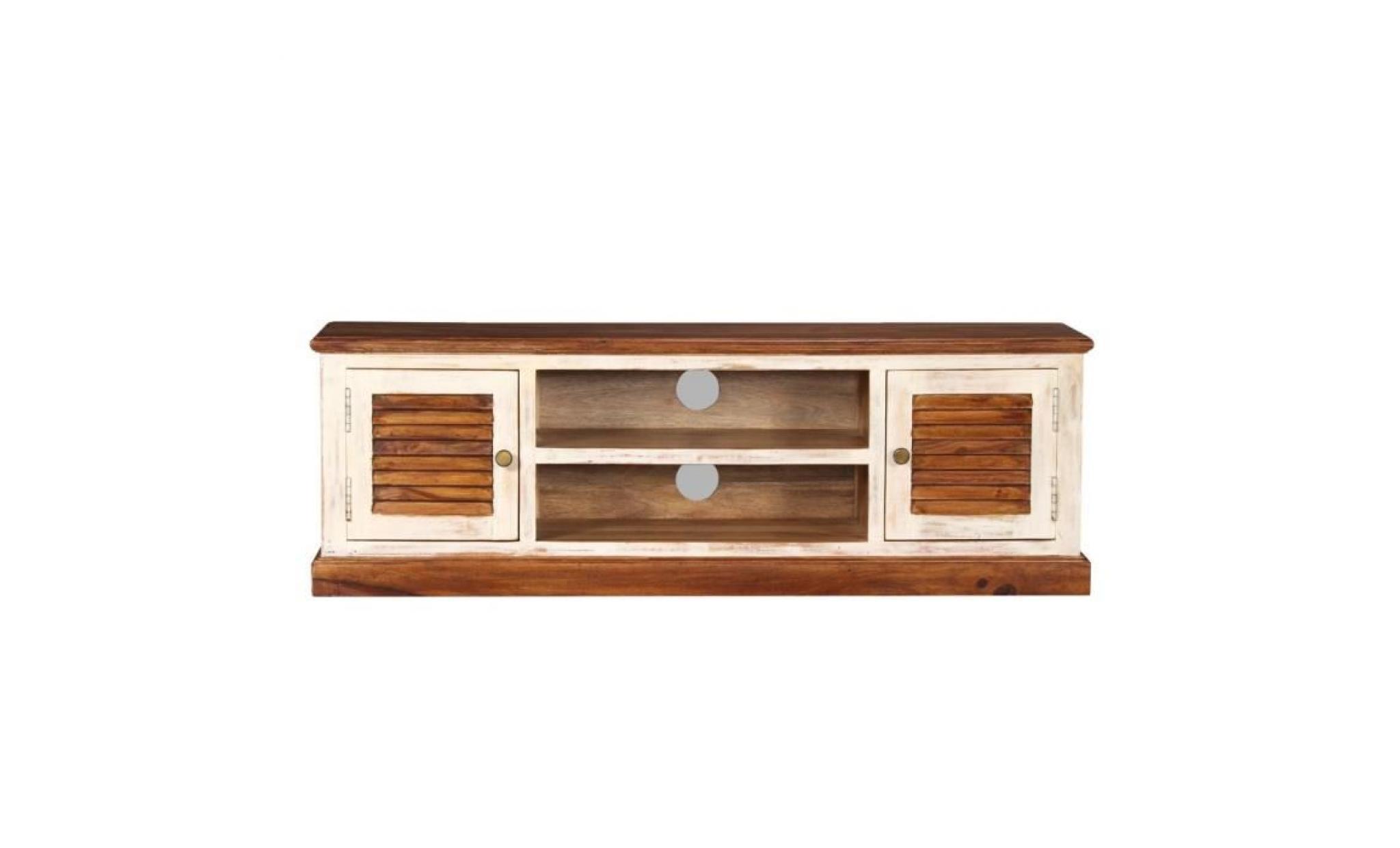 meuble tv meubles audio vidéo bois massif de manguier et sesham 12 x 12 x  12 cm