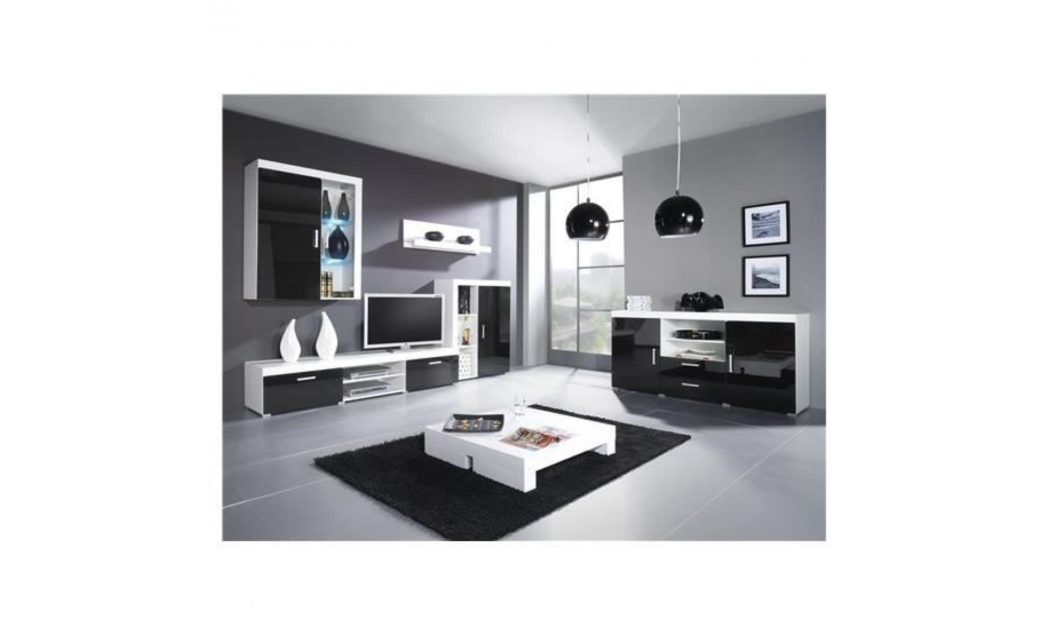 meuble tv mural design mamba avec commode blanc et noir achat vente meuble tv pas cher. Black Bedroom Furniture Sets. Home Design Ideas