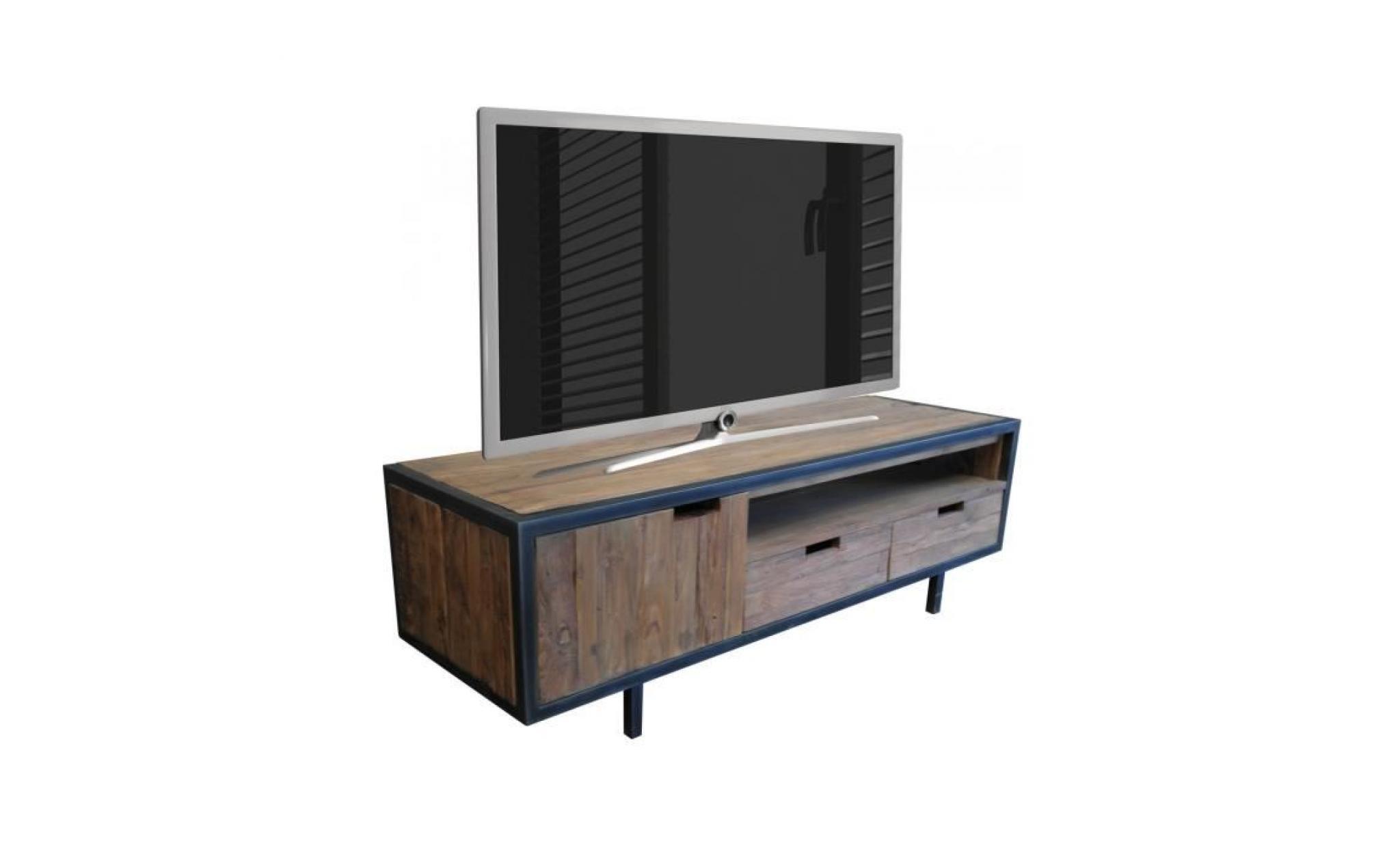 en 1 co meuble et tiroirs 160x50x50cm 37639 massif teck porte 2 avec marron tv bois p rustique marron MzpUSV
