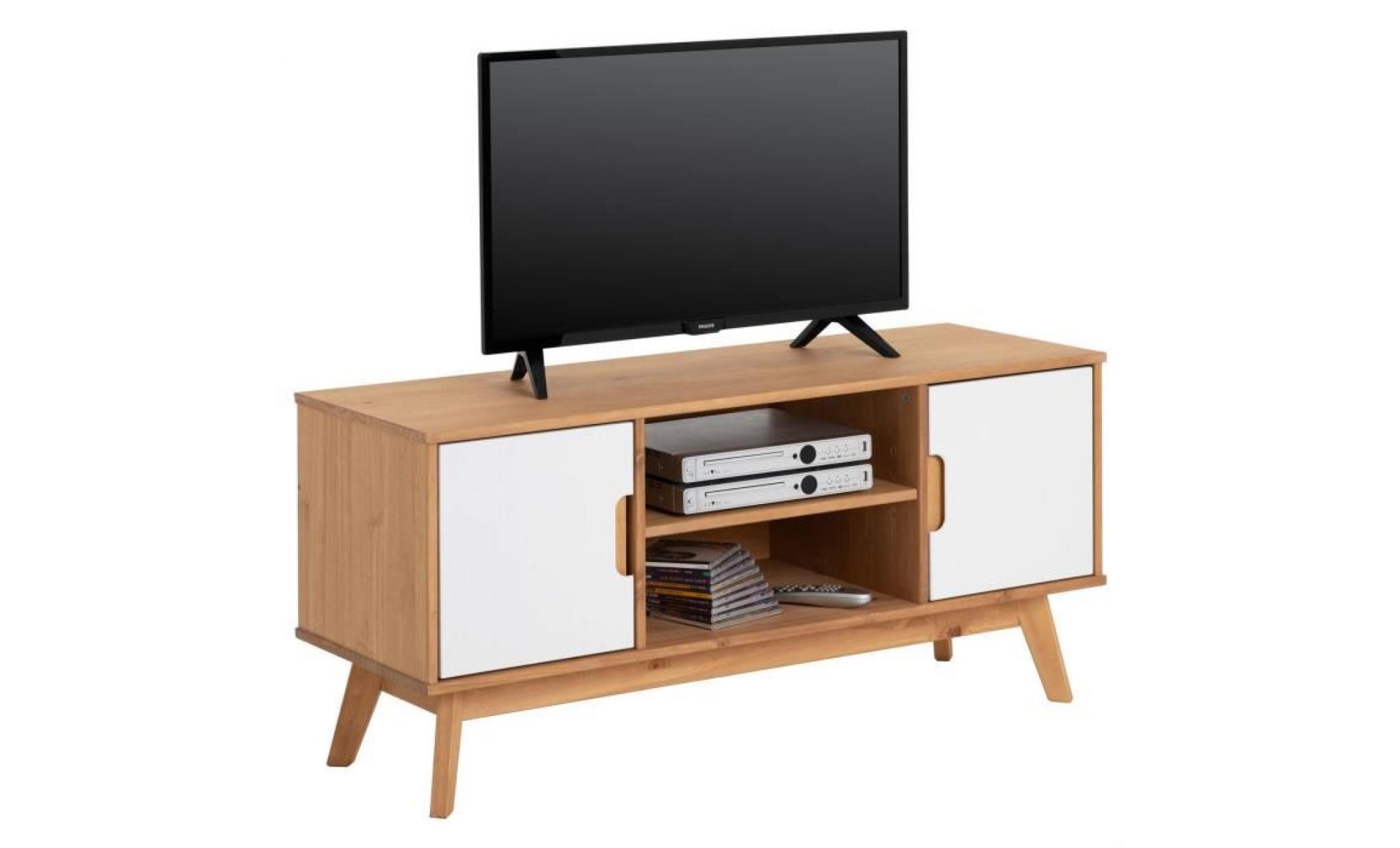 Meuble Tv Tivoli Banc Tele De 114 Cm Au Style Scandinave Design Vintage Nordique Avec 2 Portes Et 2 Niches Pin Massif Cire Et Blanc