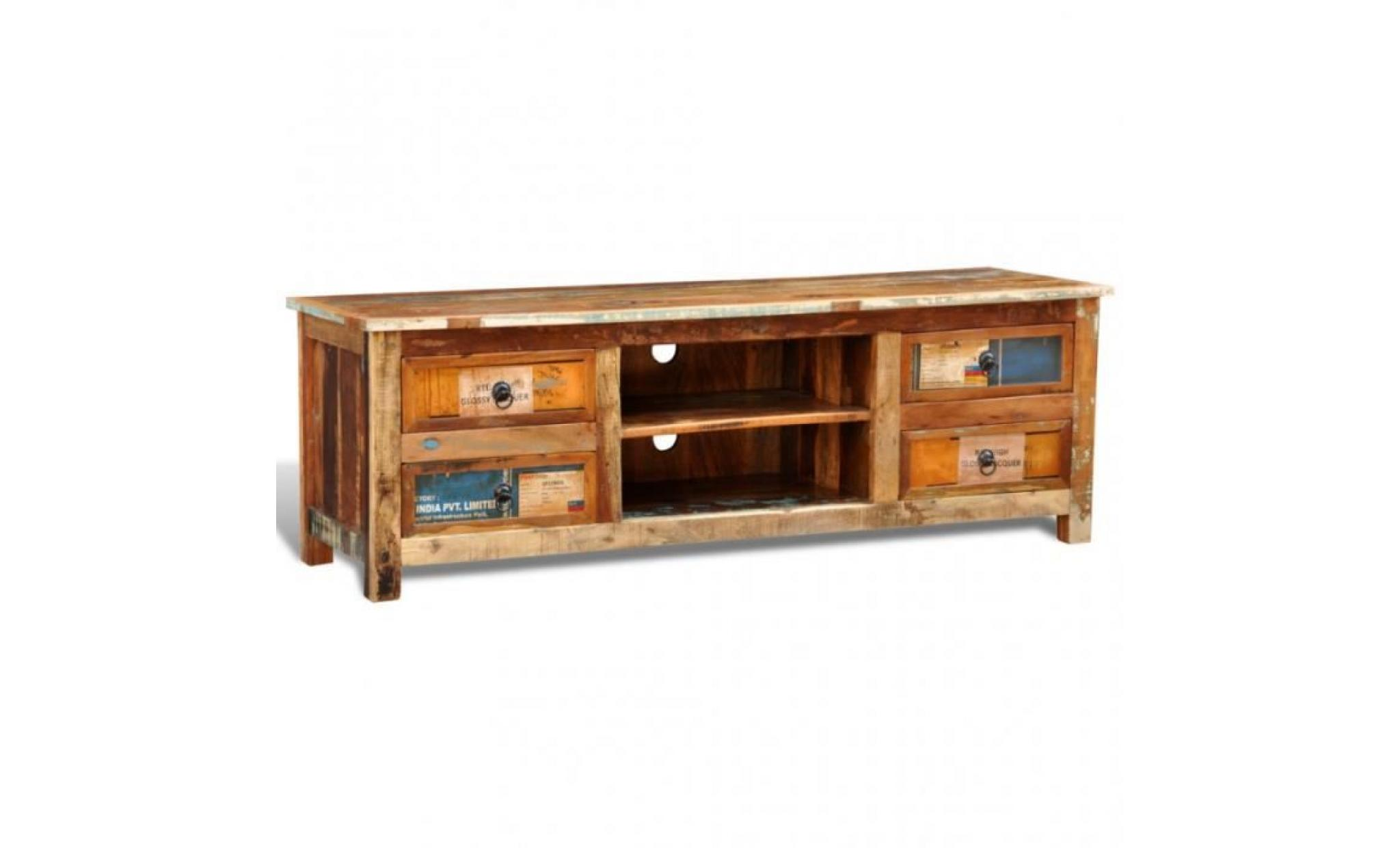 meuble tv vintage multicolore 4 tiroirs achat vente. Black Bedroom Furniture Sets. Home Design Ideas