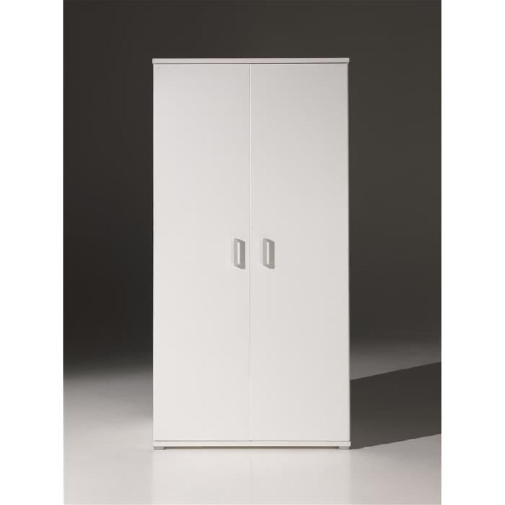 milan armoire 2 portes blanche achat vente armoire de. Black Bedroom Furniture Sets. Home Design Ideas