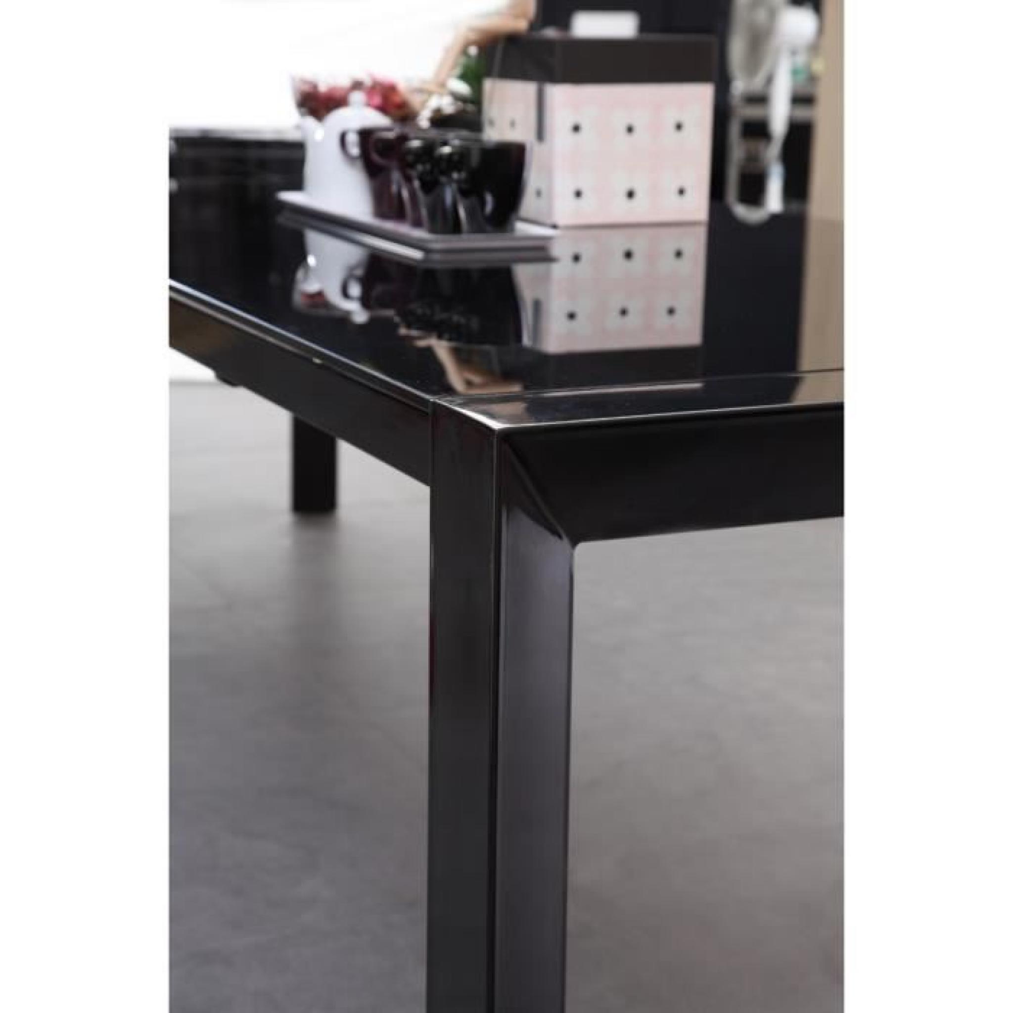 MILANO Table extensible 180 à 270cm verre noir - Achat/Vente table ...