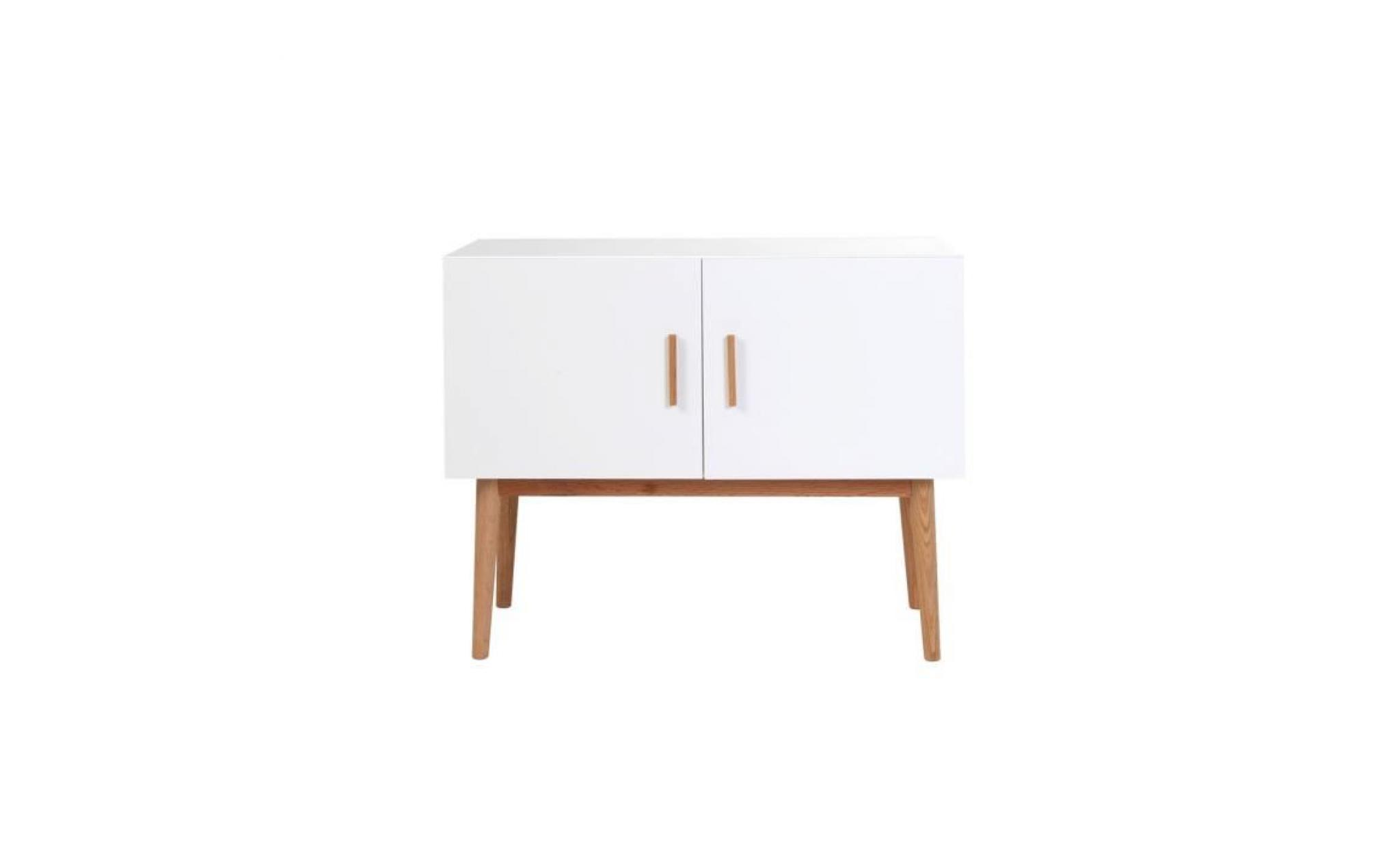 miliboo buffet bois naturel et blanc 2 portes achat. Black Bedroom Furniture Sets. Home Design Ideas