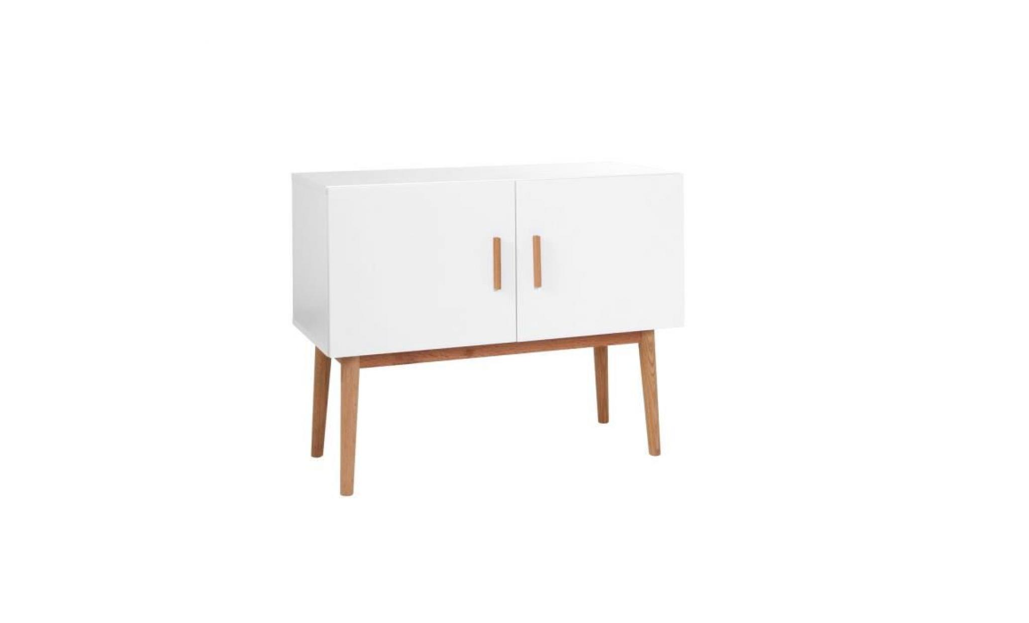 miliboo buffet bois naturel et blanc 2 portes achat vente buffet pas cher couleur et. Black Bedroom Furniture Sets. Home Design Ideas