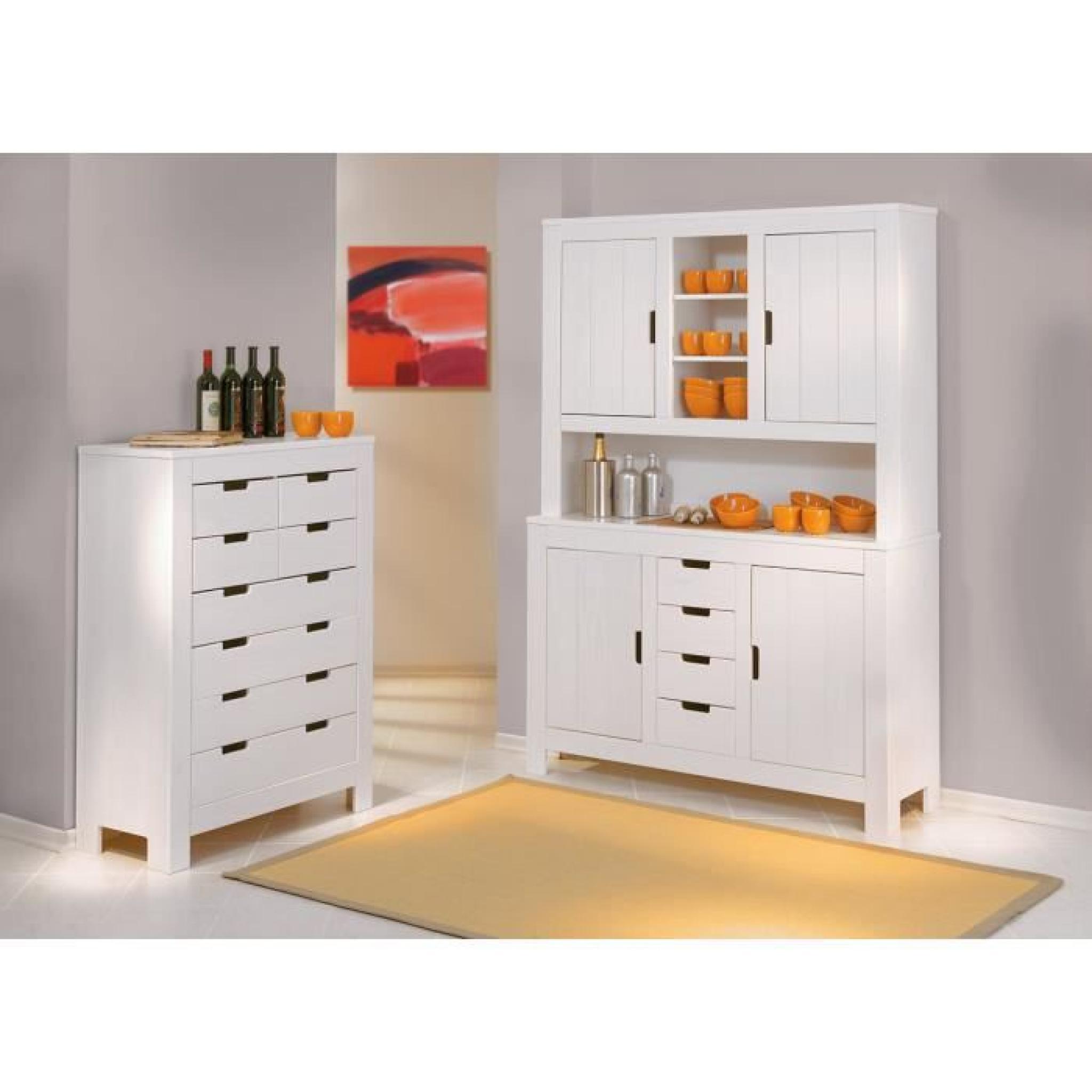 vaisselier blanc pas cher Miliboo - Buffet vaisselier blanc pin massif GAIA pas cher